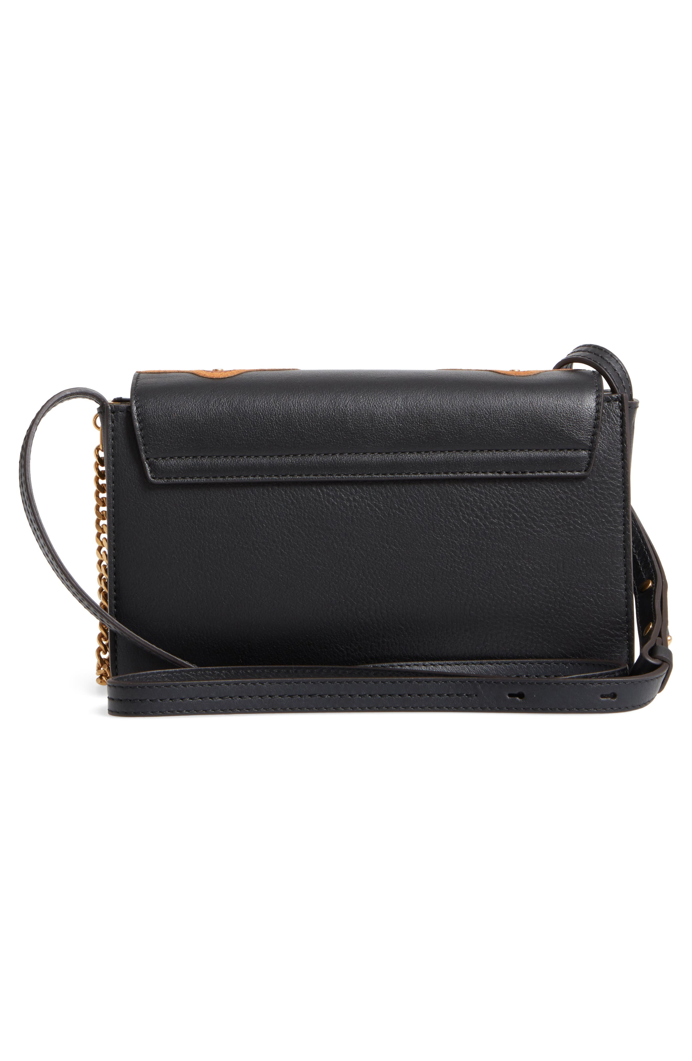 Small Faye Studded Leather & Suede Crossbody Bag,                             Alternate thumbnail 3, color,                             001