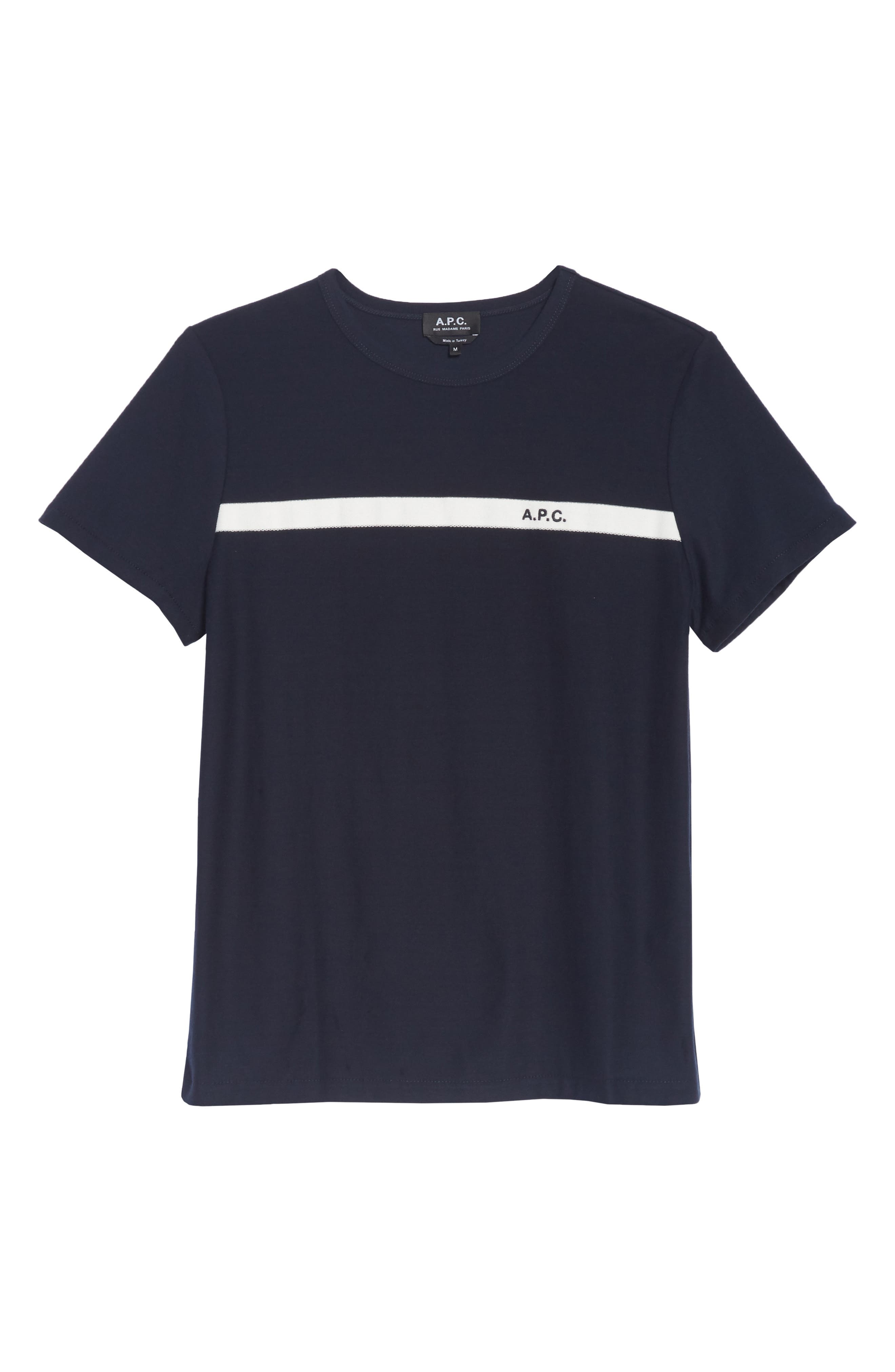 Stripe Logo T-Shirt,                             Alternate thumbnail 6, color,                             IAK NAVY