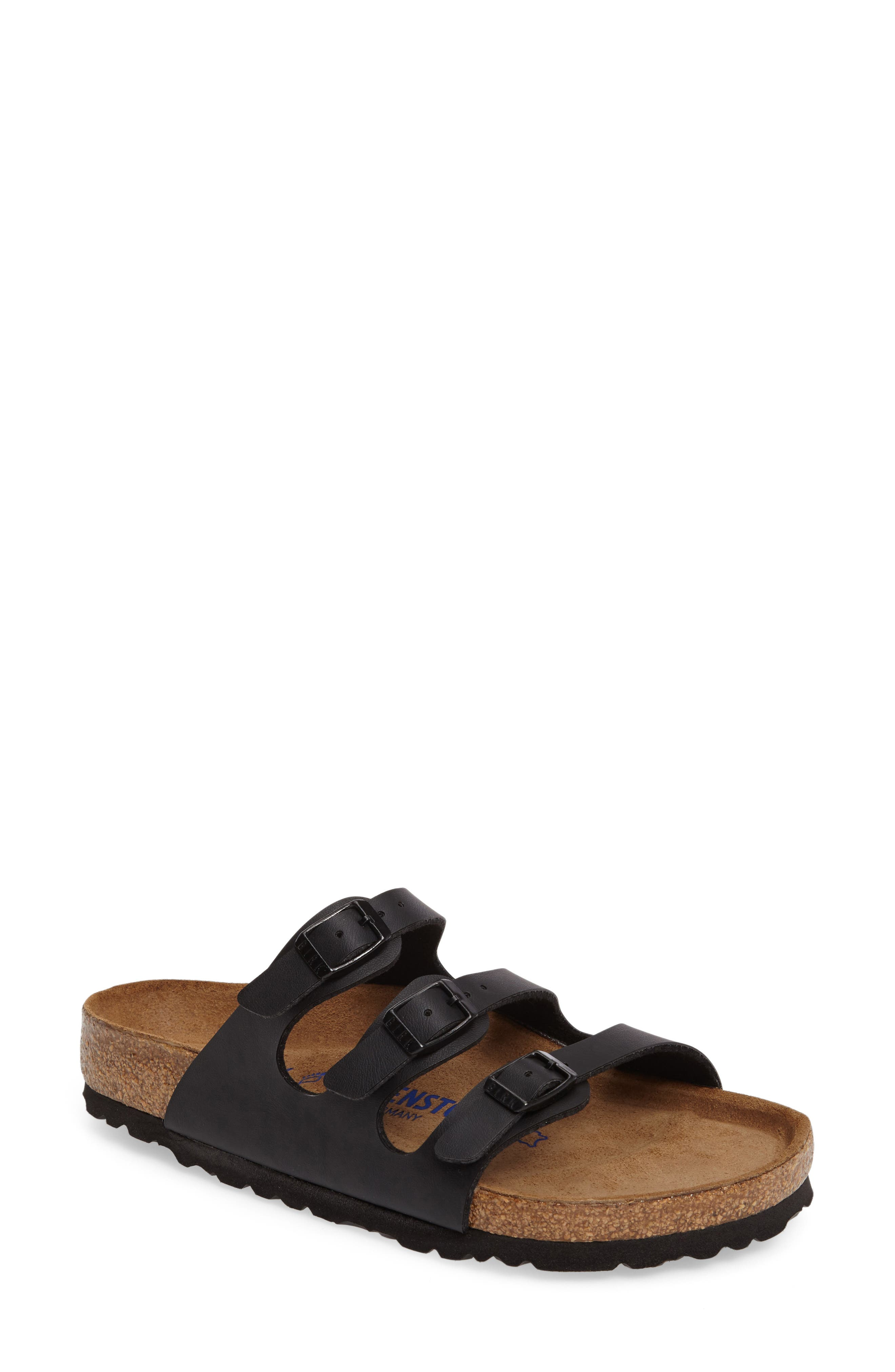 Florida Soft Footbed Slide Sandal,                             Main thumbnail 1, color,                             BLACK