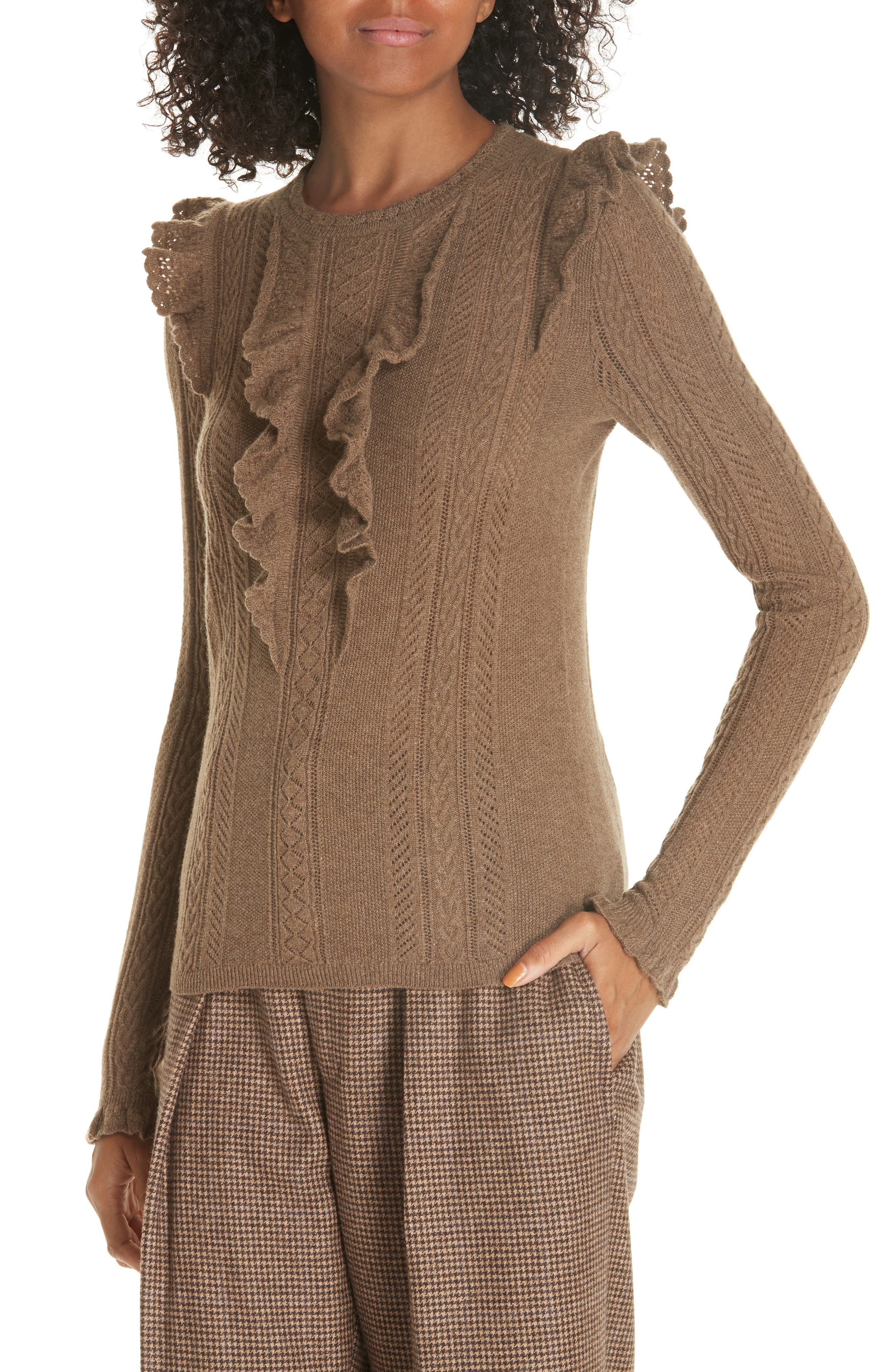 Ruffle Pointelle Sweater,                             Alternate thumbnail 4, color,                             LIGHT BROWN HEATHER