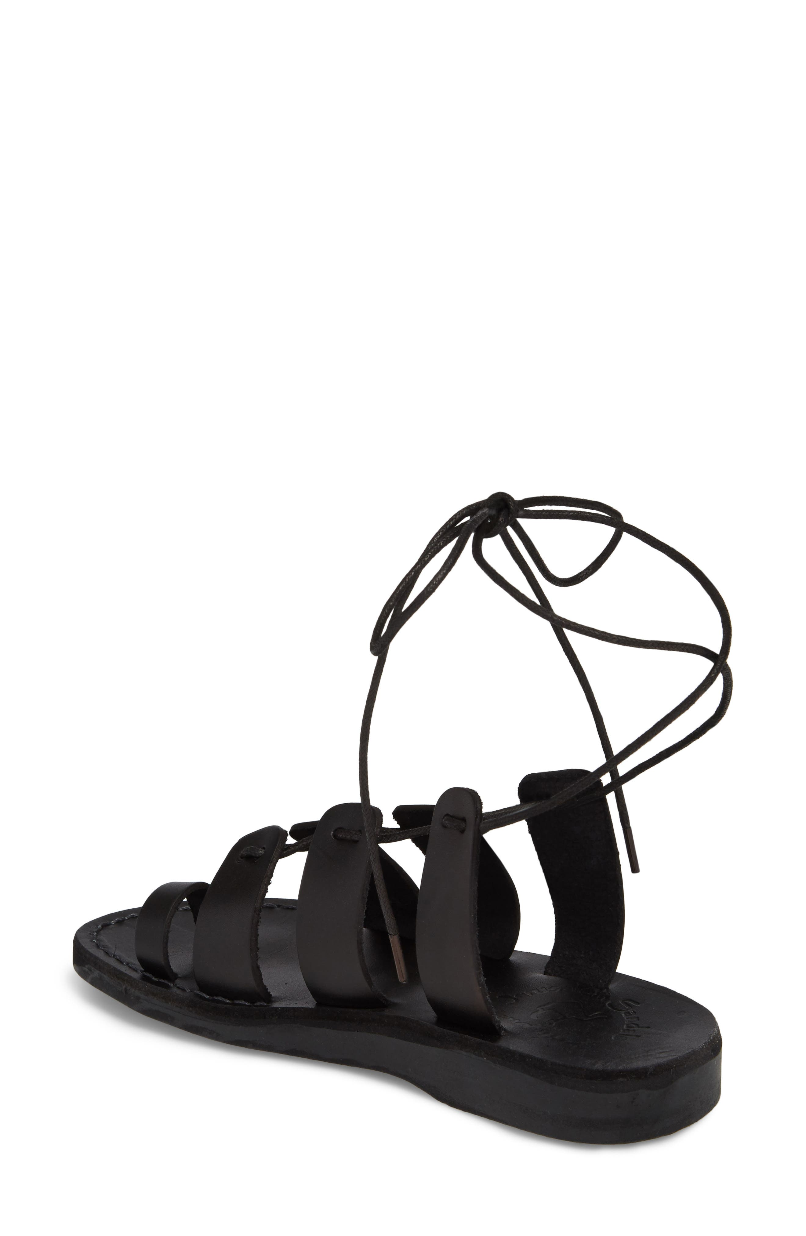 Deborah Wraparound Laces Sandal,                             Alternate thumbnail 2, color,                             BLACK LEATHER