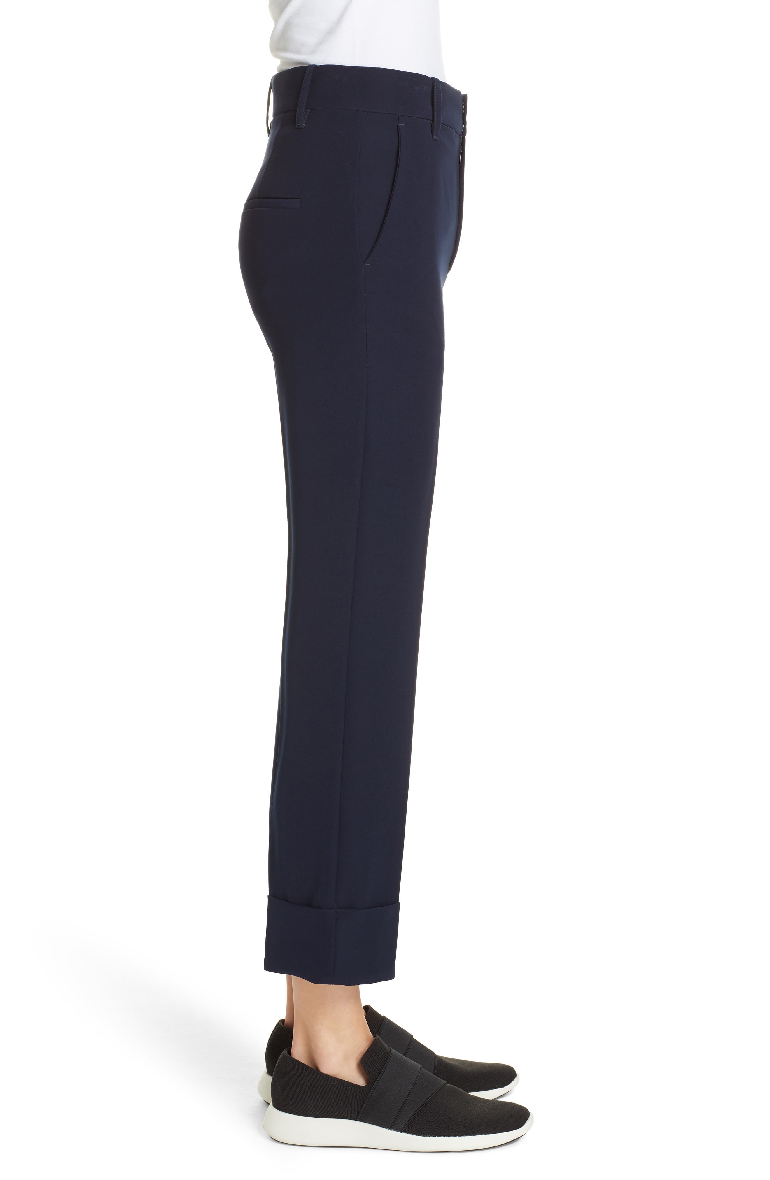 Cuffed Ankle Trousers,                             Alternate thumbnail 3, color,                             NAVY