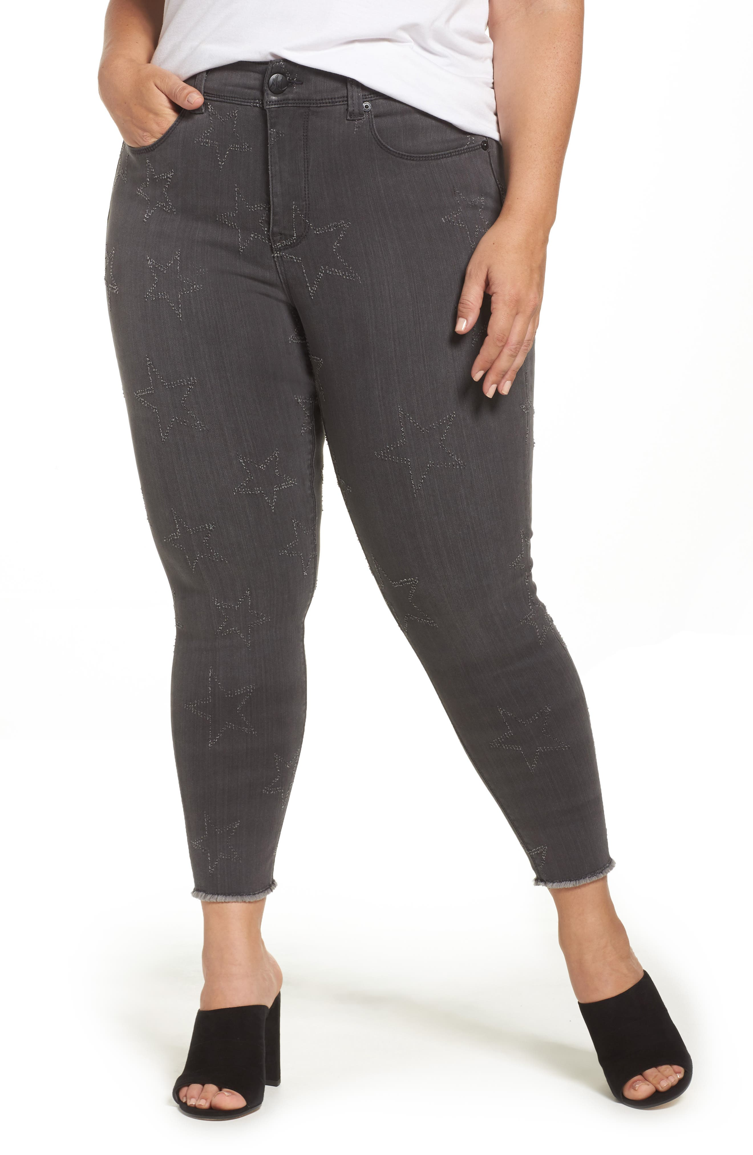Star Embroidered Fray Hem Pencil Jeans,                             Main thumbnail 1, color,                             028