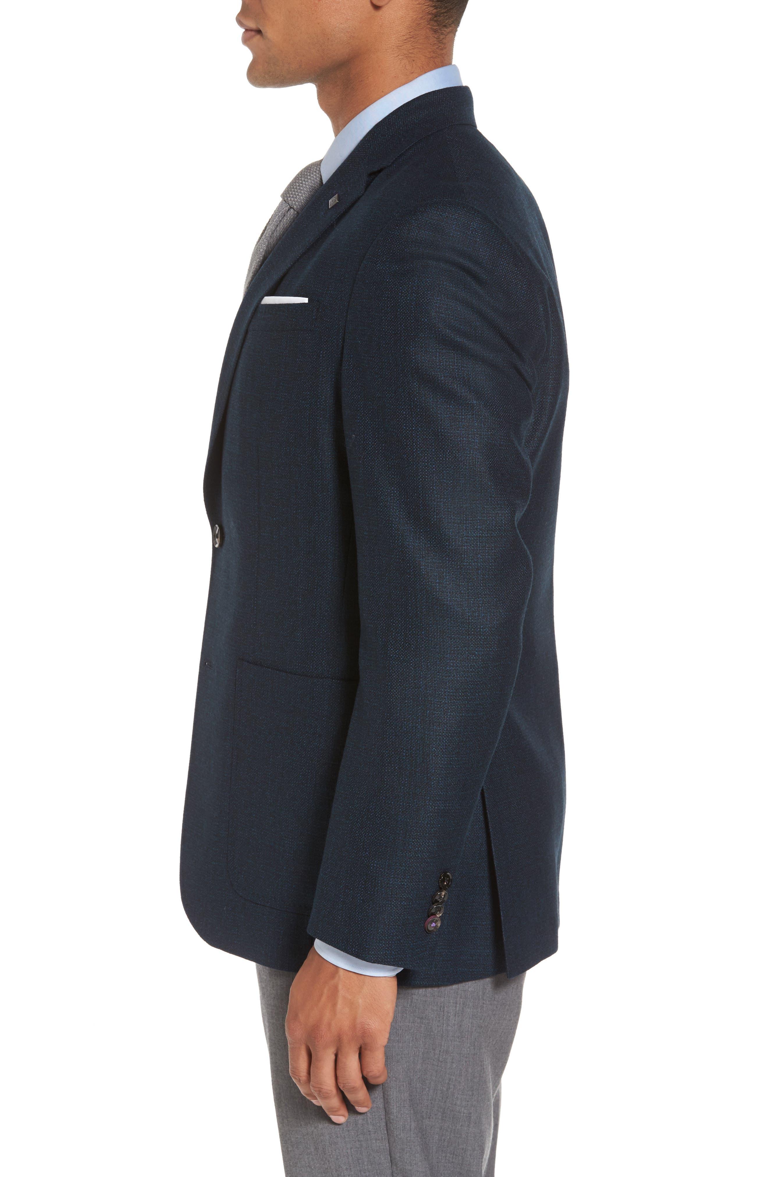 Kyle Trim Fit Check Wool Sport Coat,                             Alternate thumbnail 3, color,                             475
