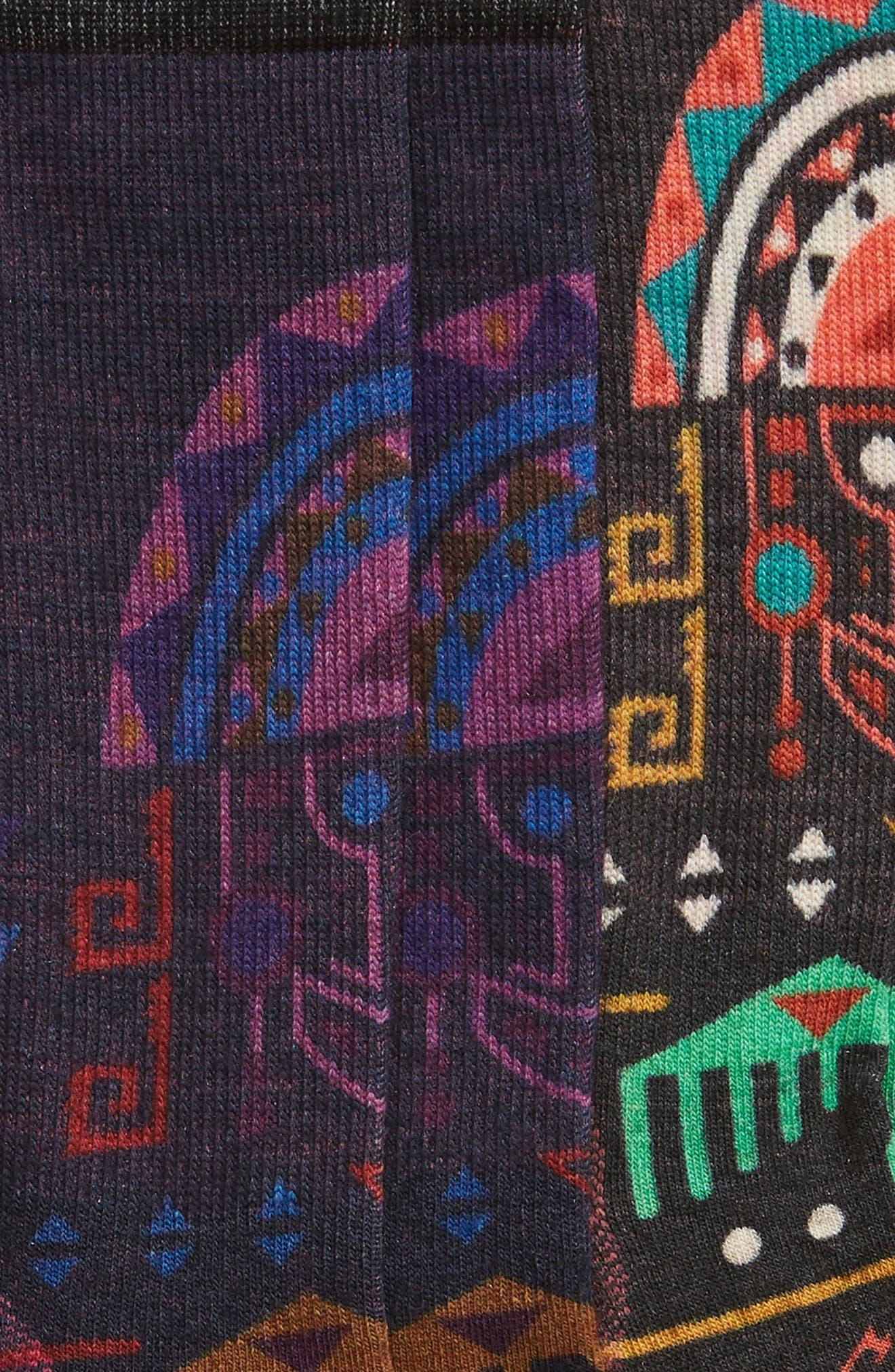 Totem Valley Print Crew Socks,                             Alternate thumbnail 4, color,                             001