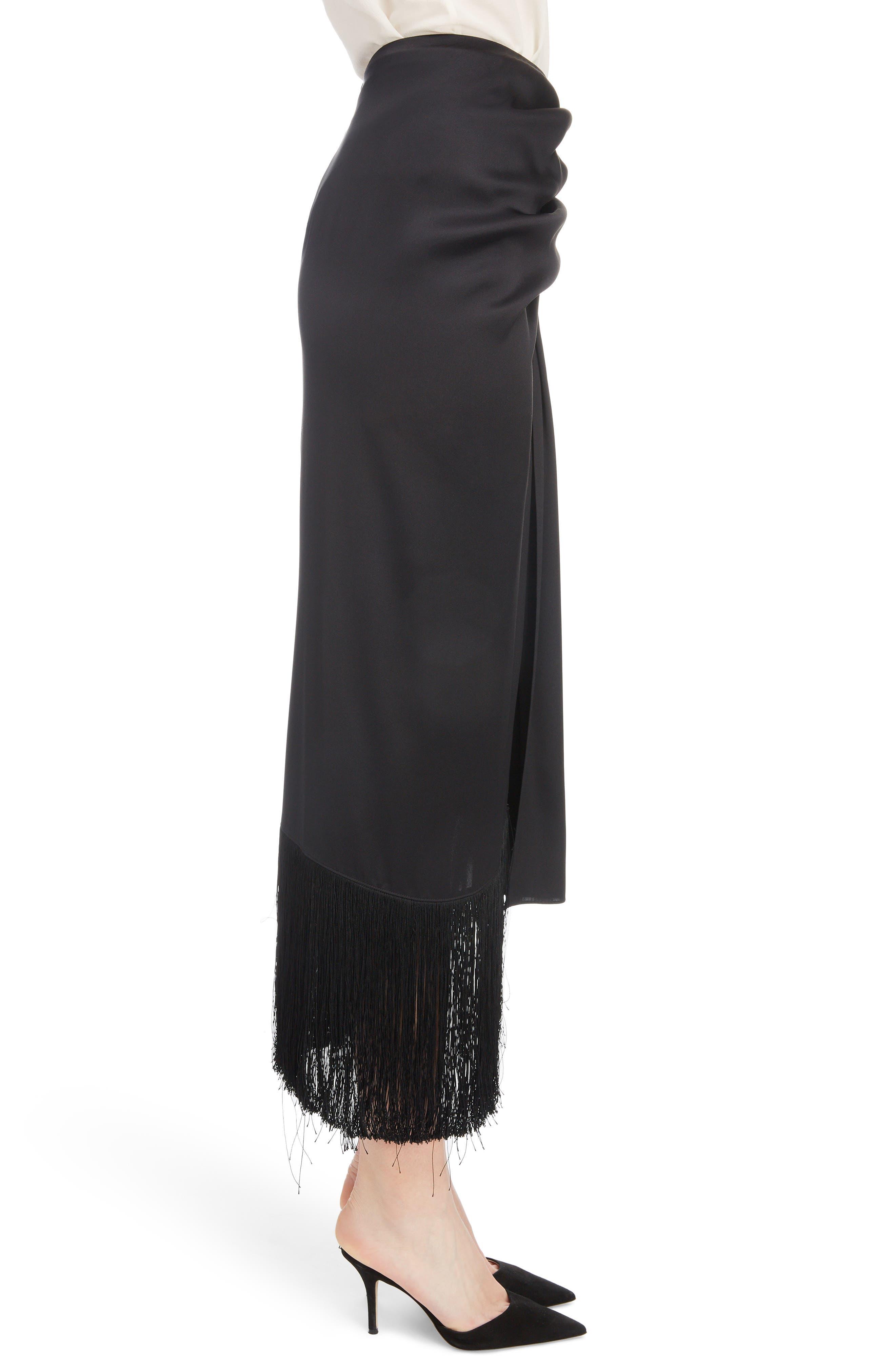 Fringe Trim Silk Skirt,                             Alternate thumbnail 3, color,                             BLACK