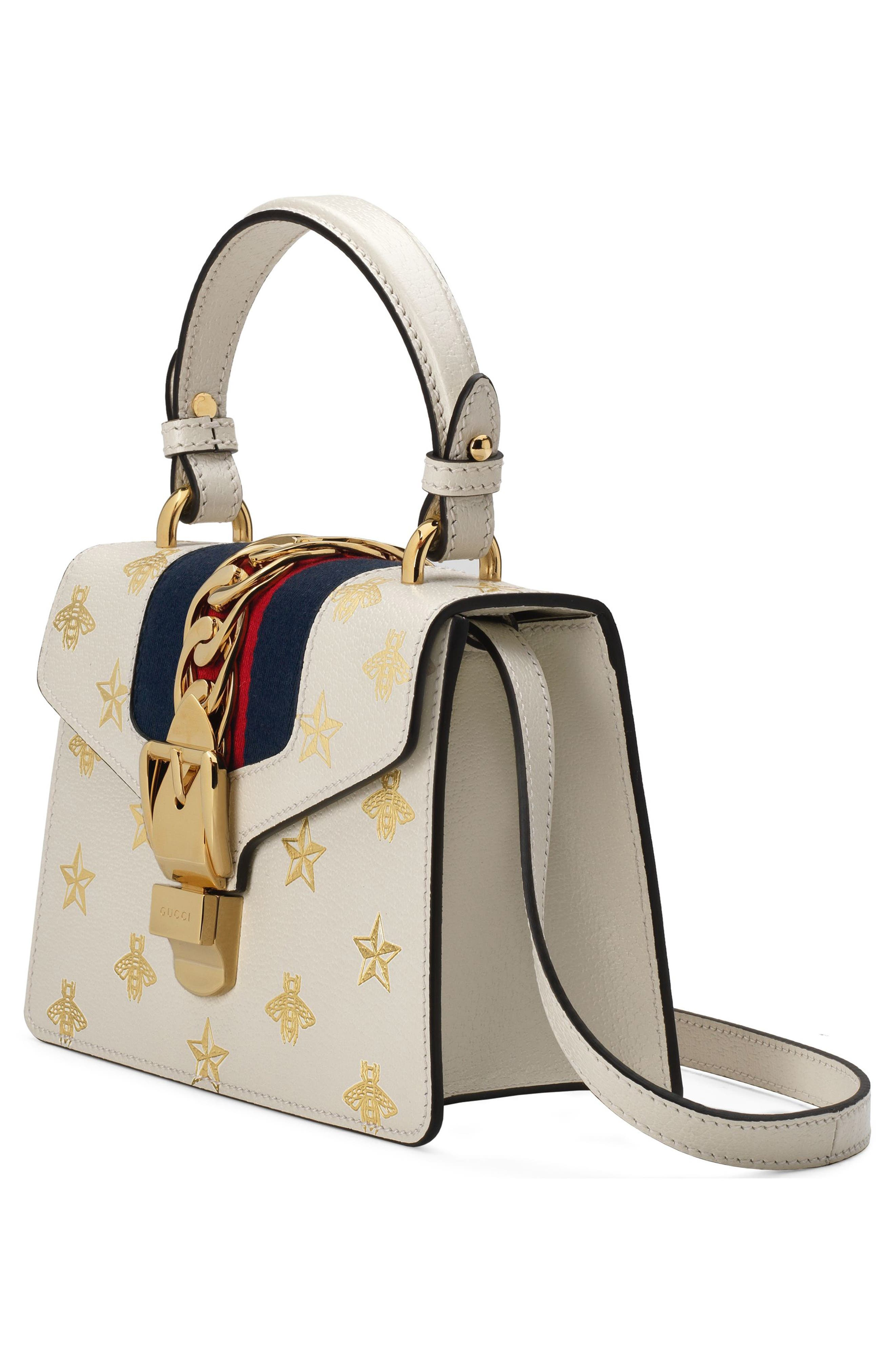 Small Sylvie Top Handle Leather Shoulder Bag,                             Alternate thumbnail 4, color,                             MYSTIC WHITE/ ORO/ BLUE/ RED