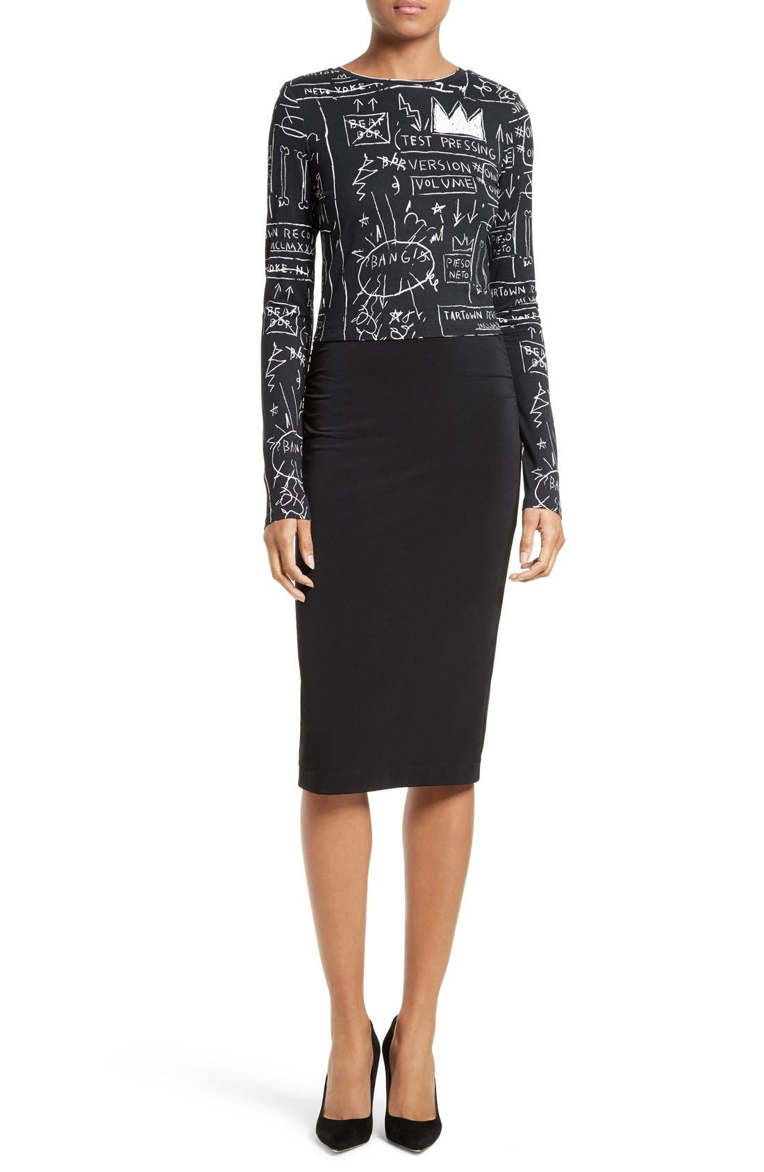 ALICE + OLIVIA,                             Ciera Side Ruched High Waist Pencil Skirt,                             Alternate thumbnail 2, color,                             001