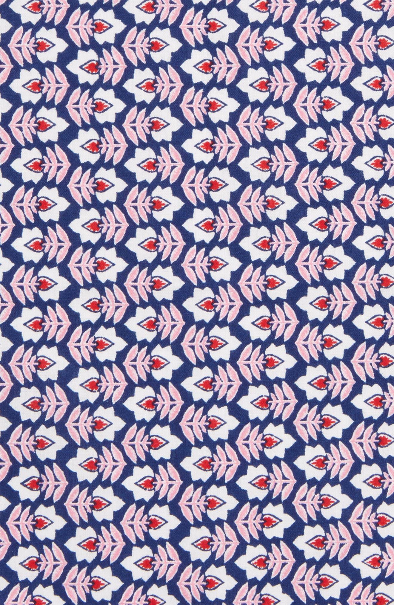 Pink Flowers Cotton Pocket Square,                             Alternate thumbnail 3, color,