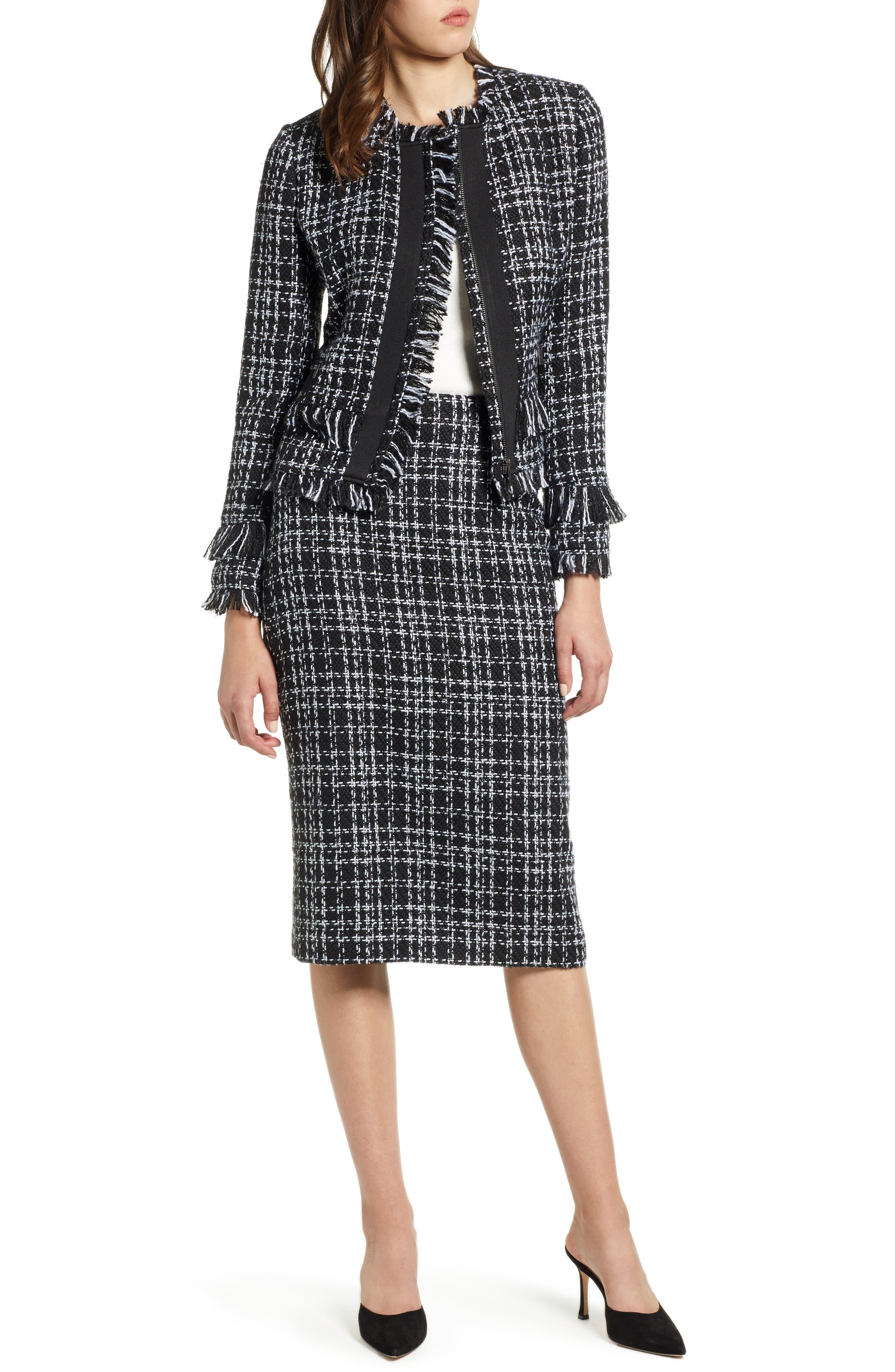 Tweed Jacket,                             Alternate thumbnail 8, color,                             BLACK- WHITE TWEED