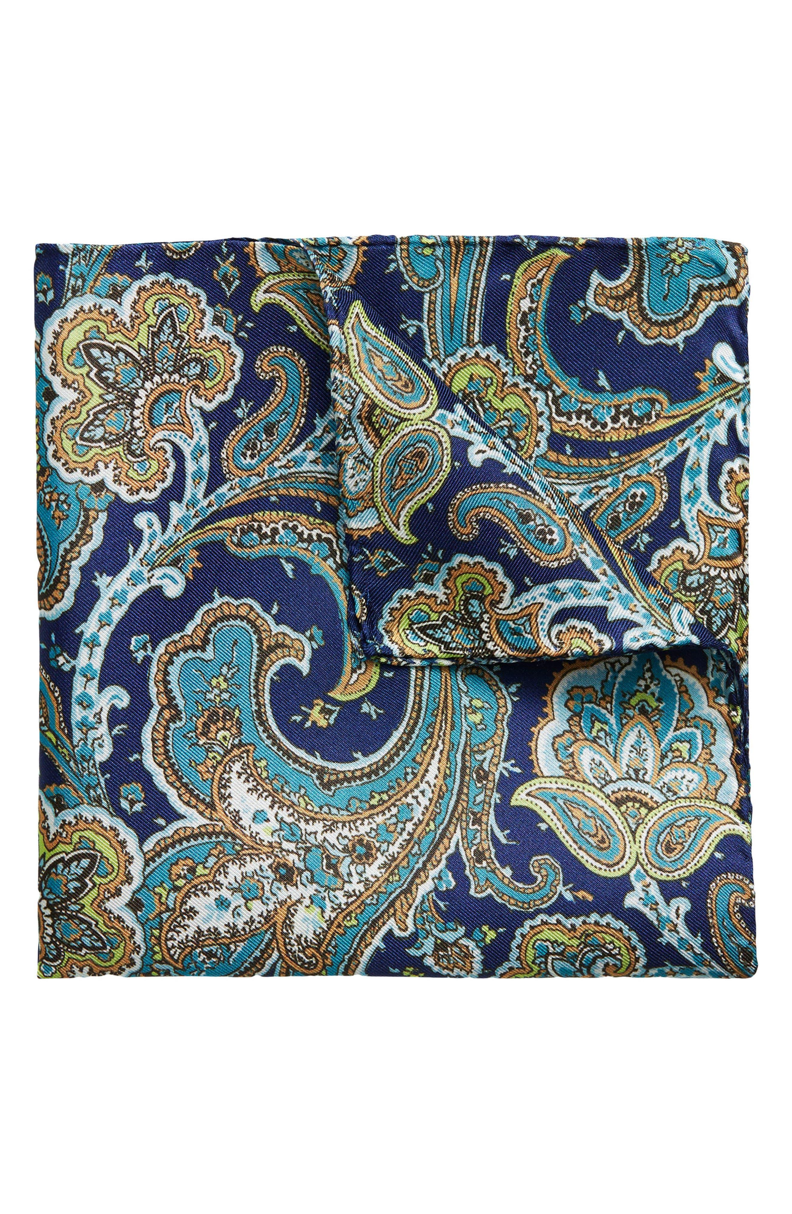 Paisley Silk Pocket Square,                             Main thumbnail 1, color,                             NAVY