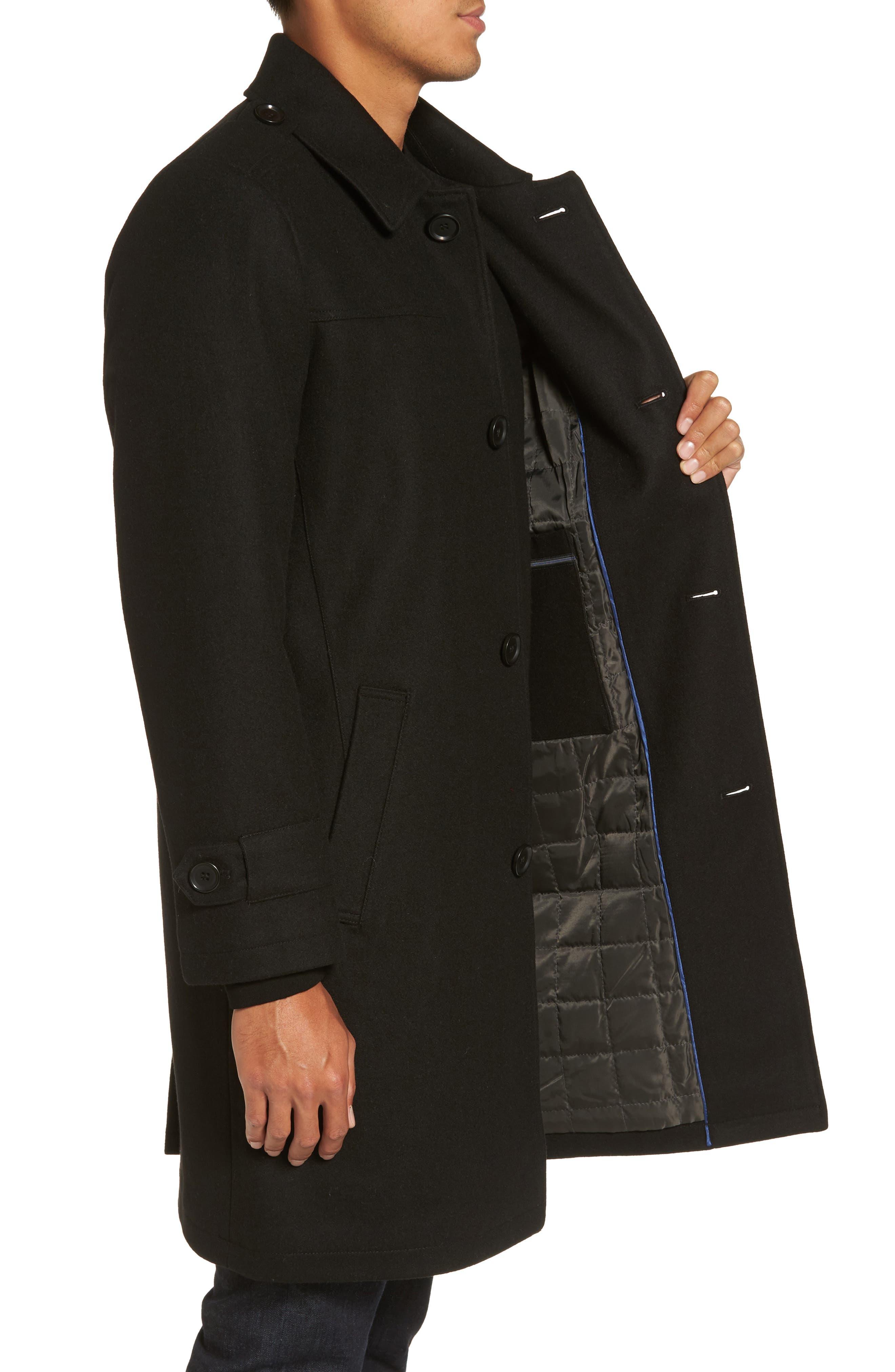 Wool Blend Overcoat,                             Alternate thumbnail 3, color,                             001
