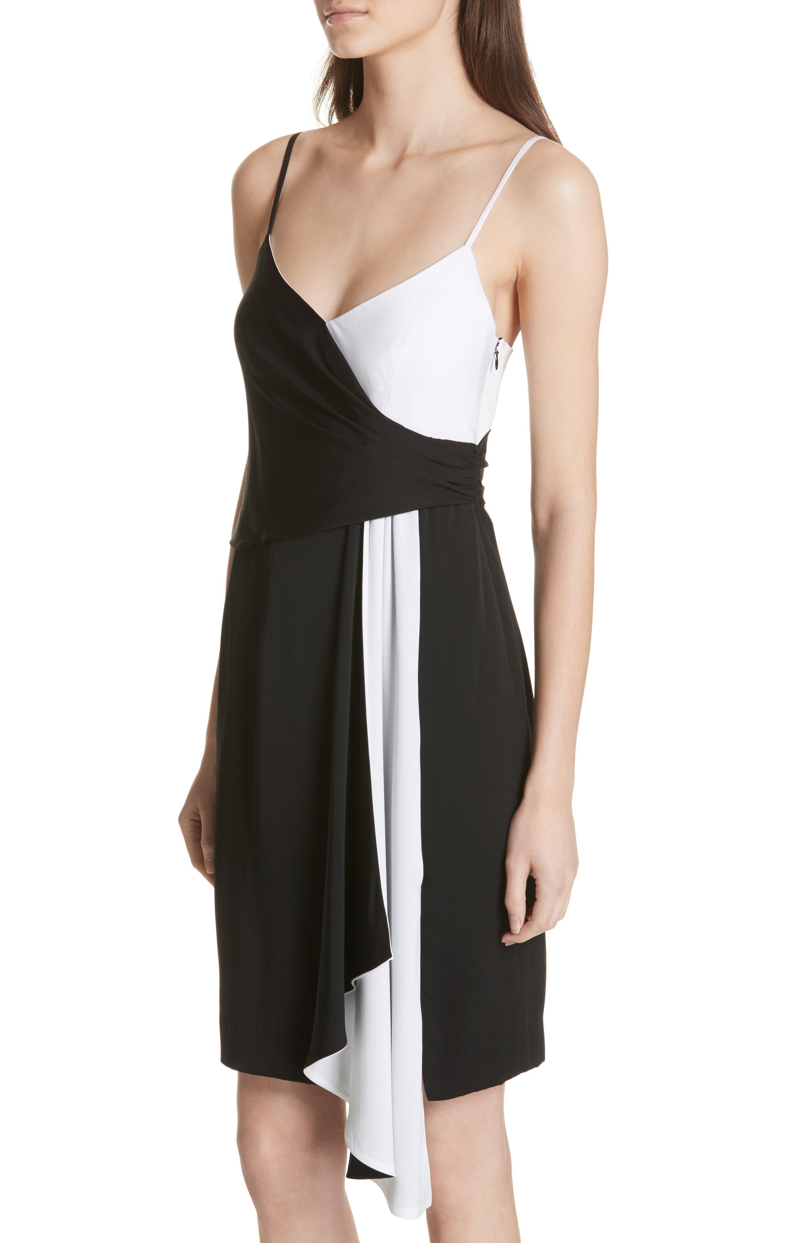 Cindy Two-Tone Stretch Silk Dress,                             Alternate thumbnail 4, color,                             006