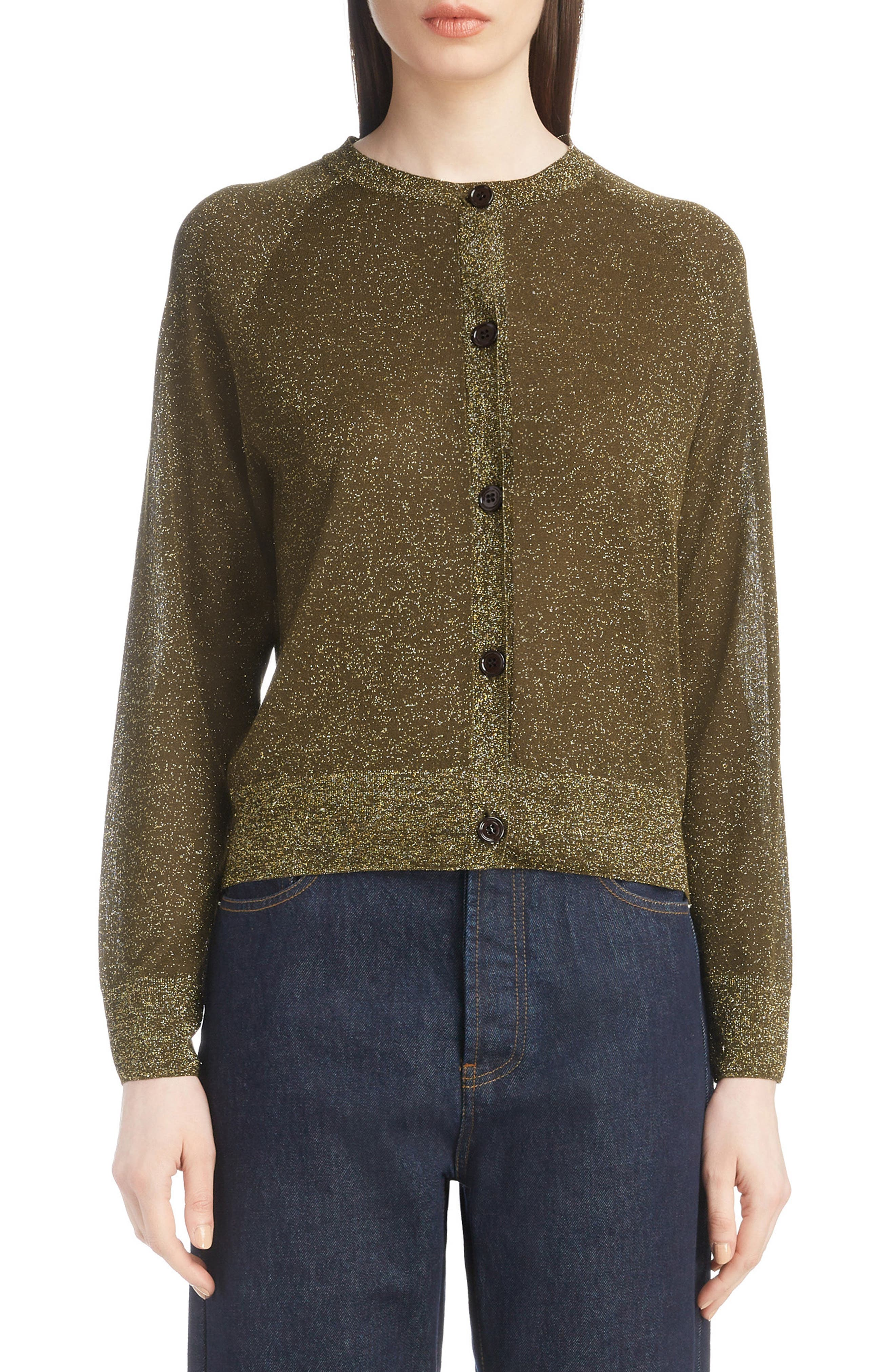 Metallic Knit Cardigan,                         Main,                         color, BRONZE