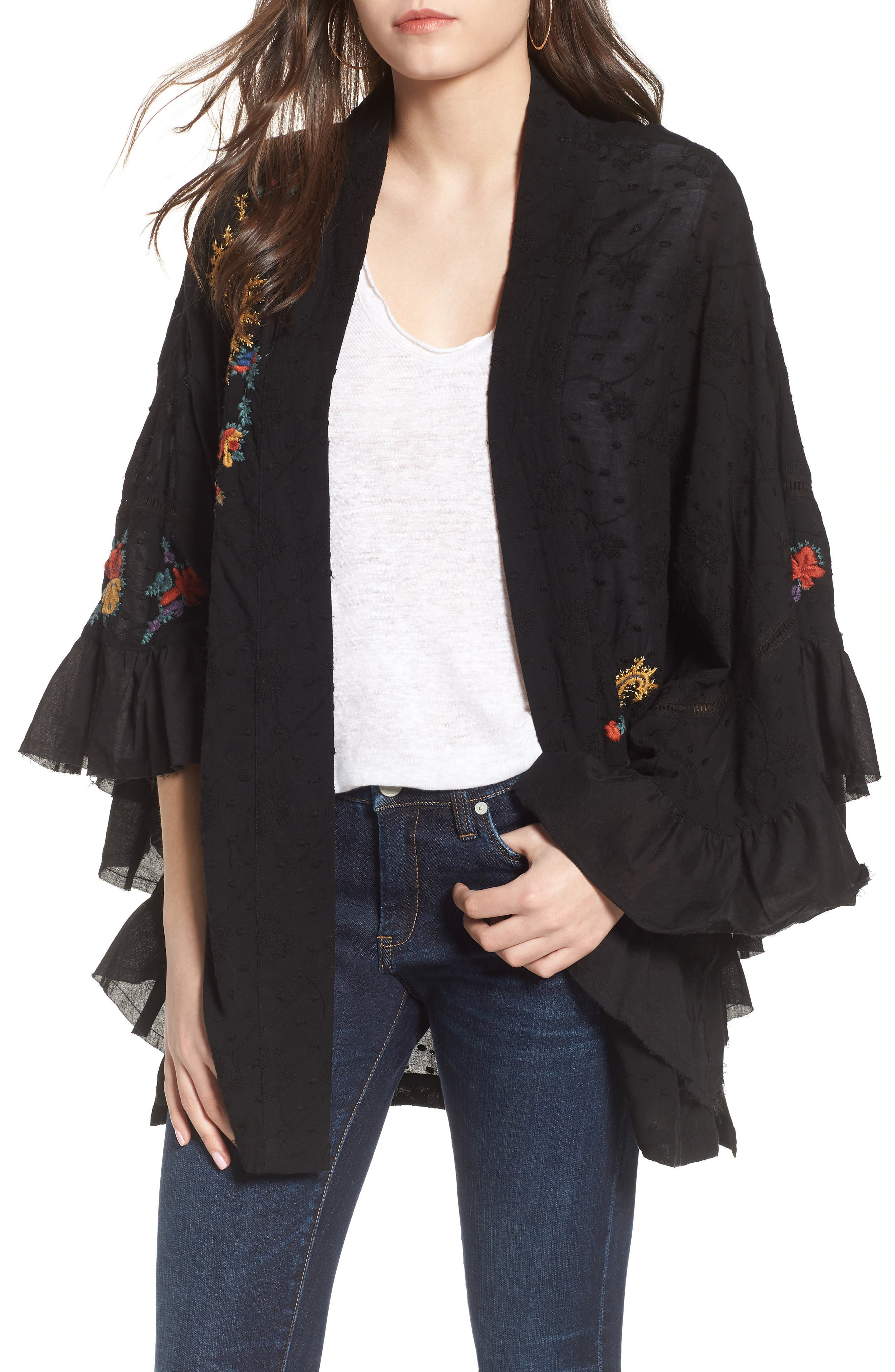 Dottie West Kimono,                             Main thumbnail 1, color,                             BLACK