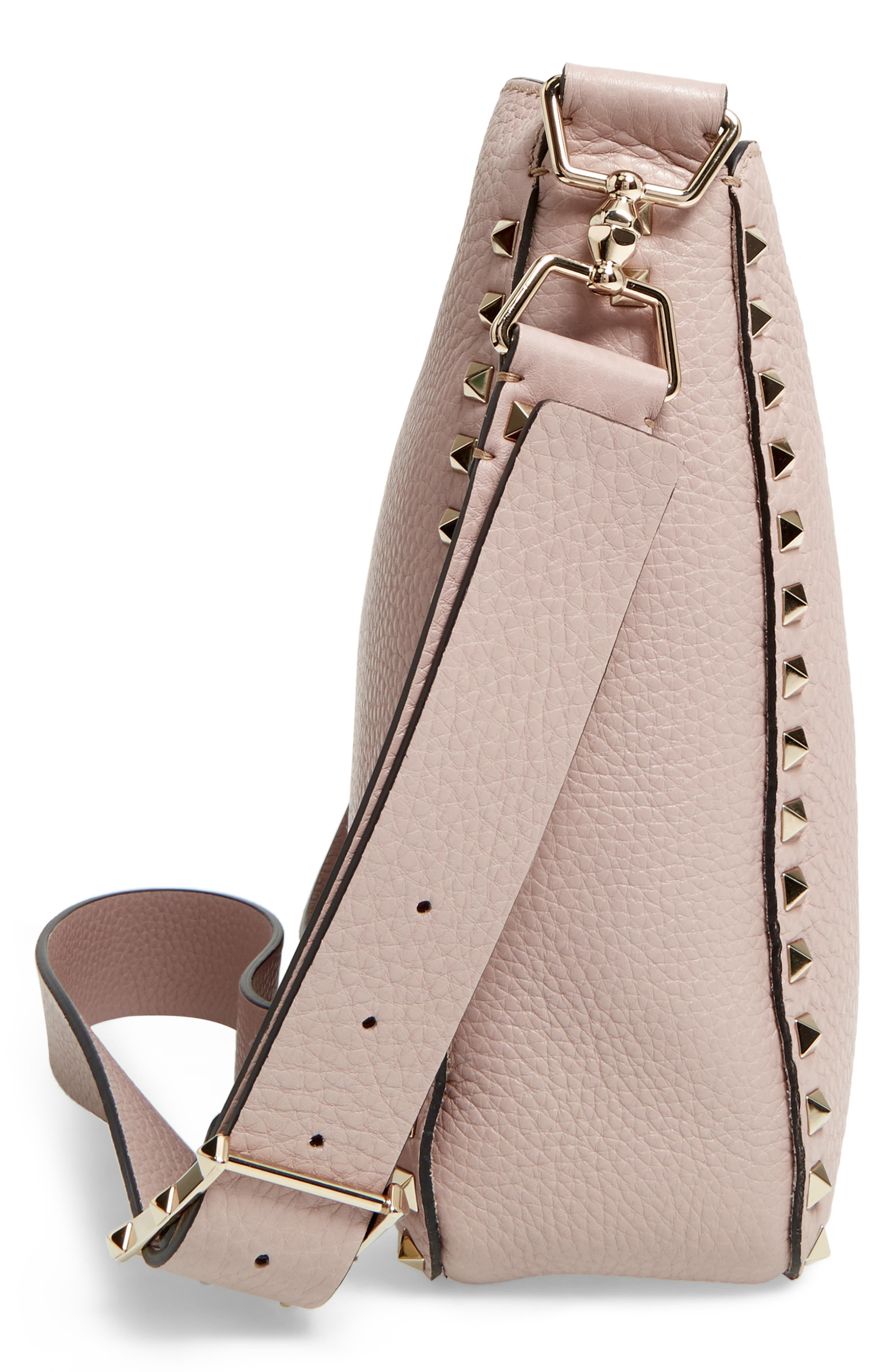 Vitello Rockstud Leather Hobo,                             Alternate thumbnail 5, color,                             950
