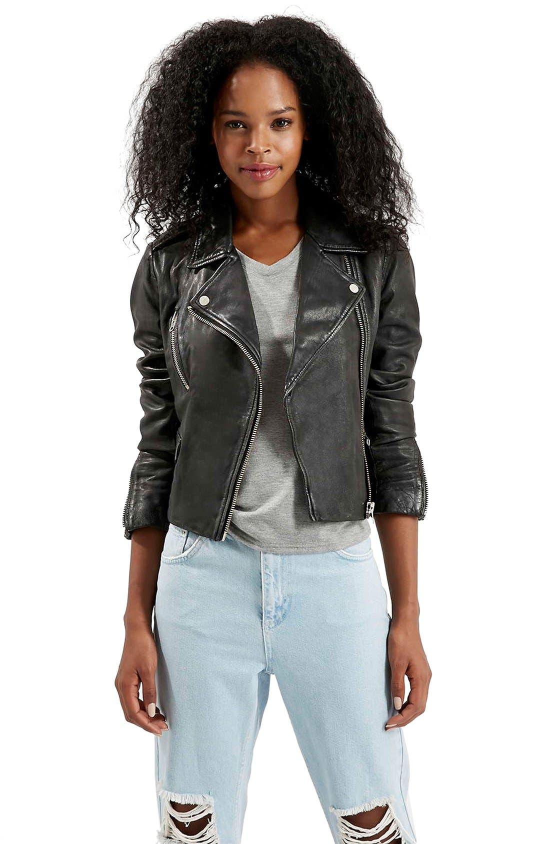 'Rocket' AsymmetricalLeather Biker Jacket,                         Main,                         color,