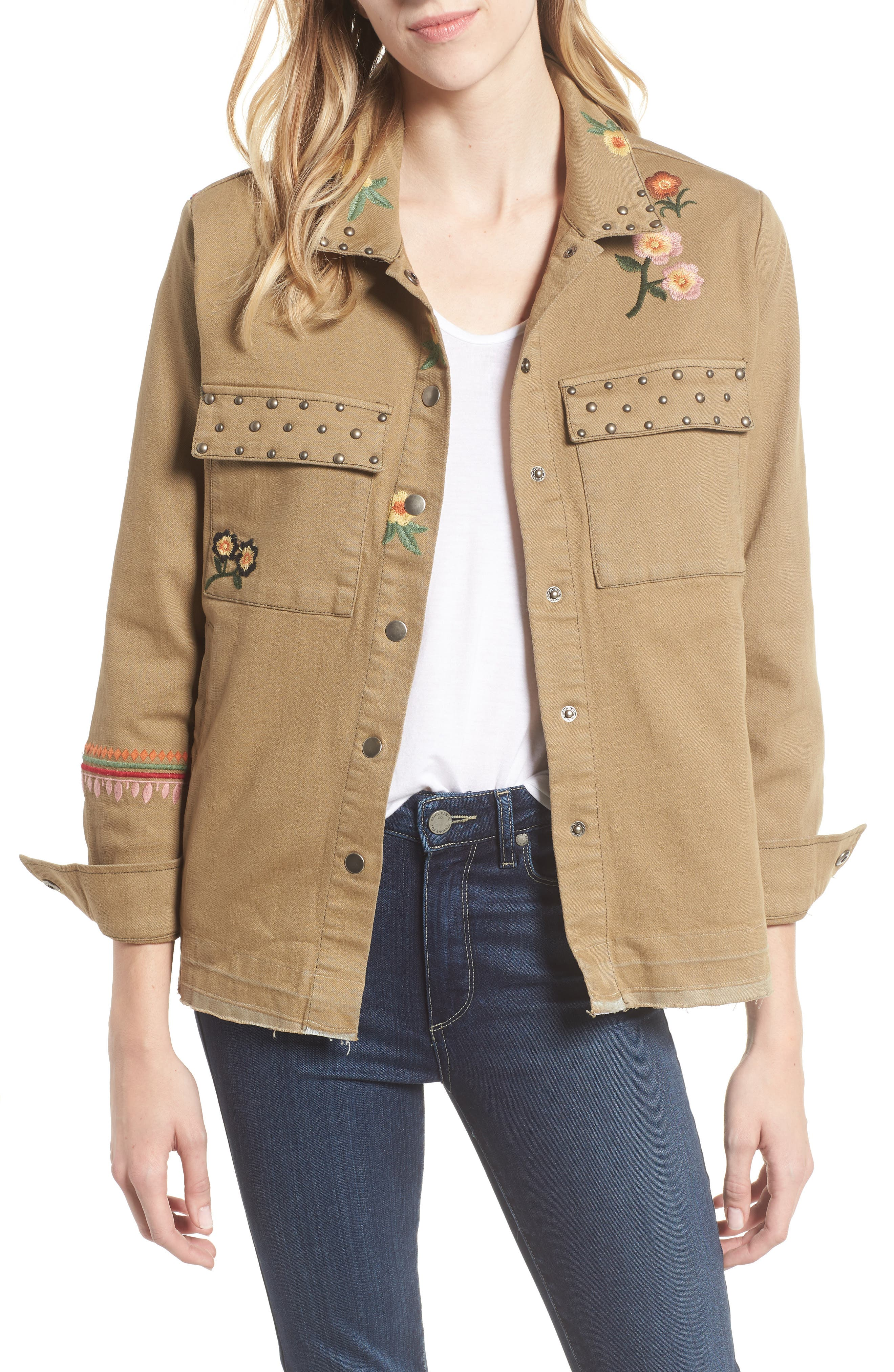 BILLY T Embroidery Stud Detail Cotton Twill Jacket in Army