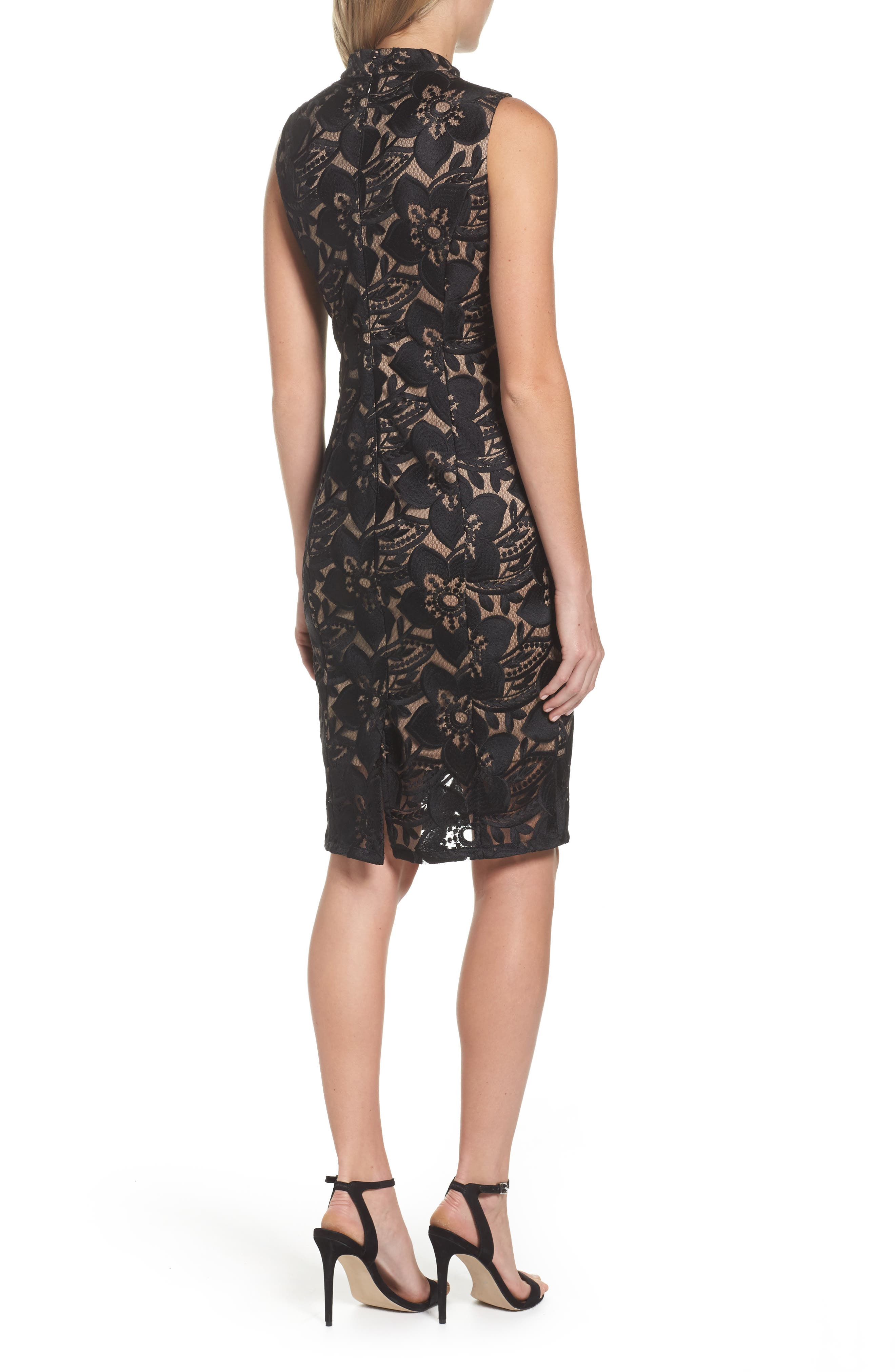 ADRIANNA PAPELL,                             Lace Sheath Dress,                             Alternate thumbnail 2, color,                             002