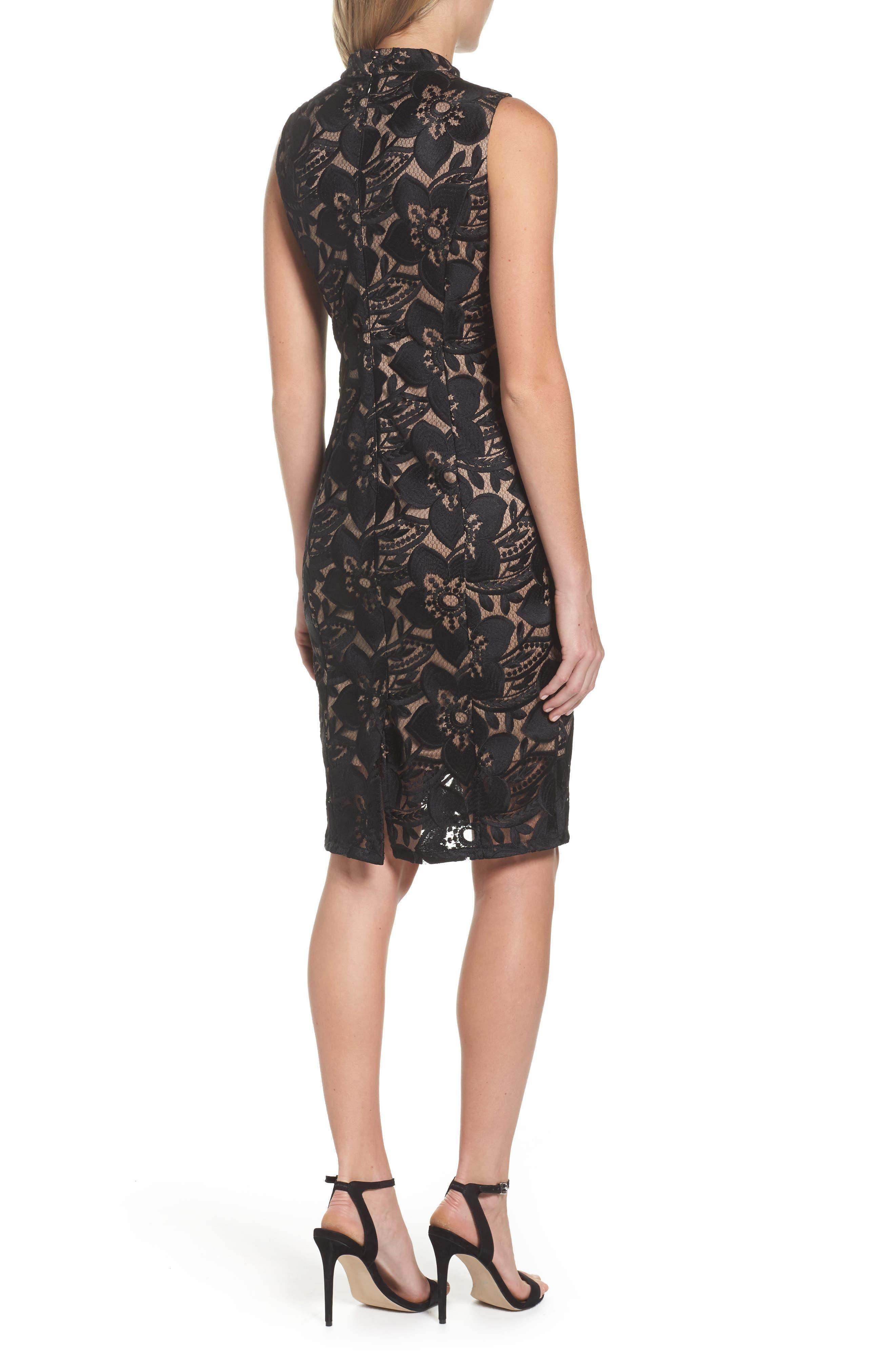 Lace Sheath Dress,                             Alternate thumbnail 2, color,                             002
