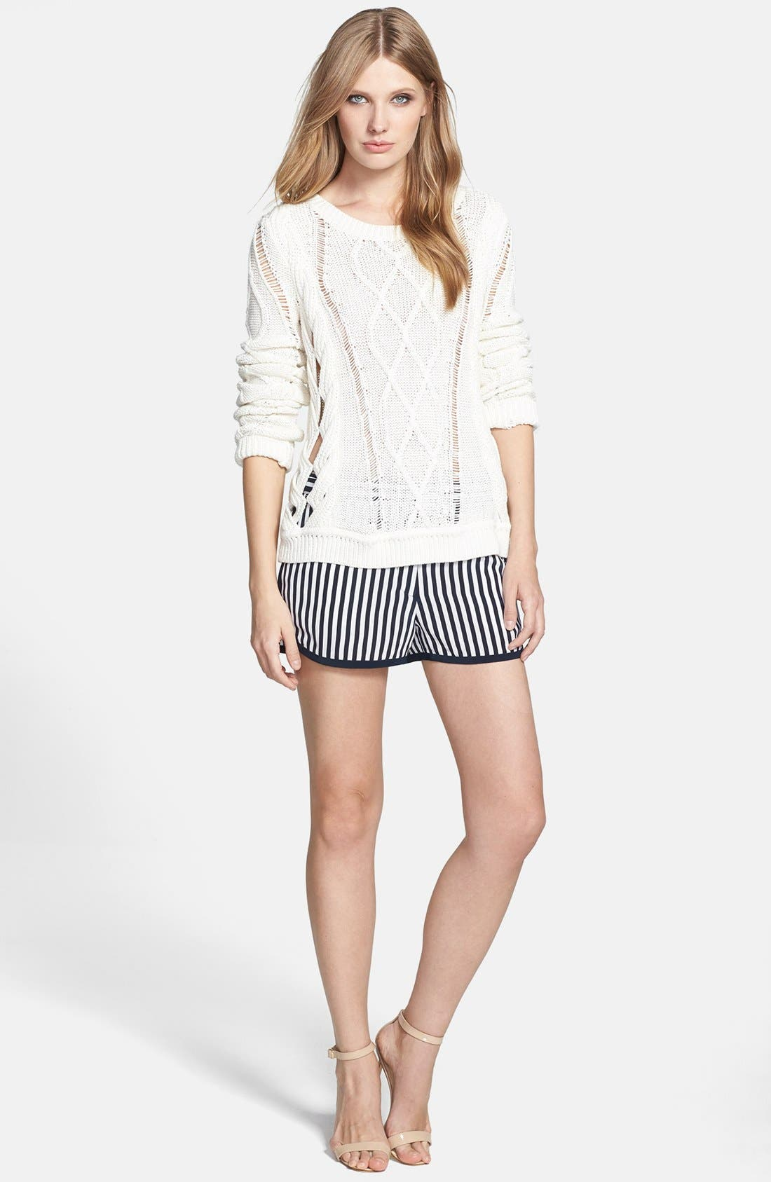 'Tiffany' Stripe Silk Shorts,                             Alternate thumbnail 2, color,