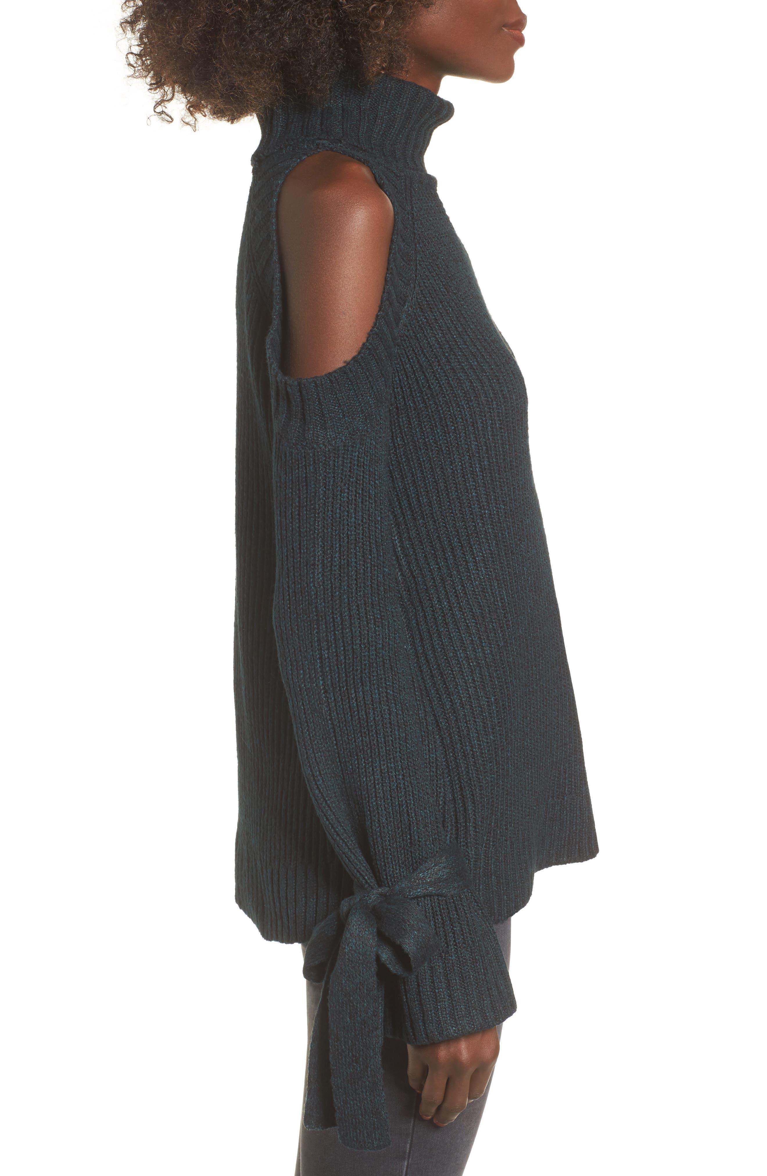Cold Shoulder Turtleneck Sweater,                             Alternate thumbnail 3, color,                             300