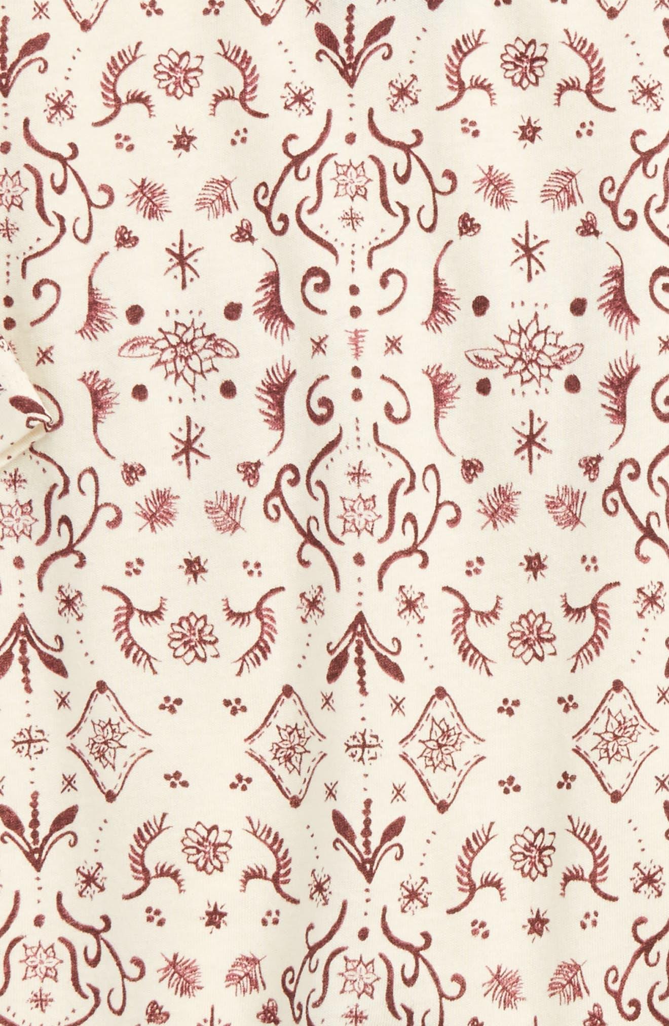 Damask Print Organic Cotton Romper,                             Alternate thumbnail 3, color,                             504