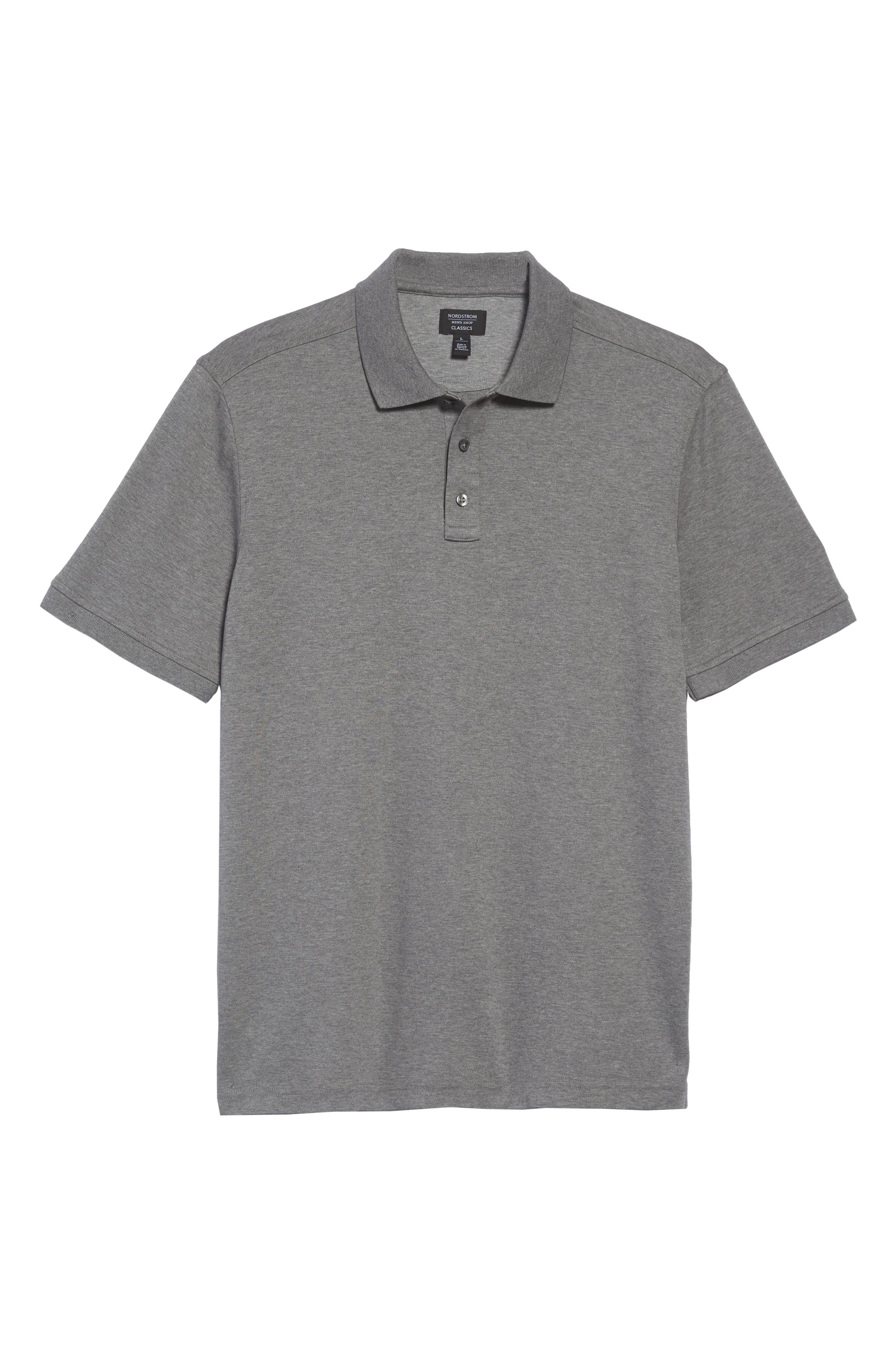 Regular Fit Interlock Knit Polo,                             Alternate thumbnail 4, color,                             GREY CLOUDY HEATHER