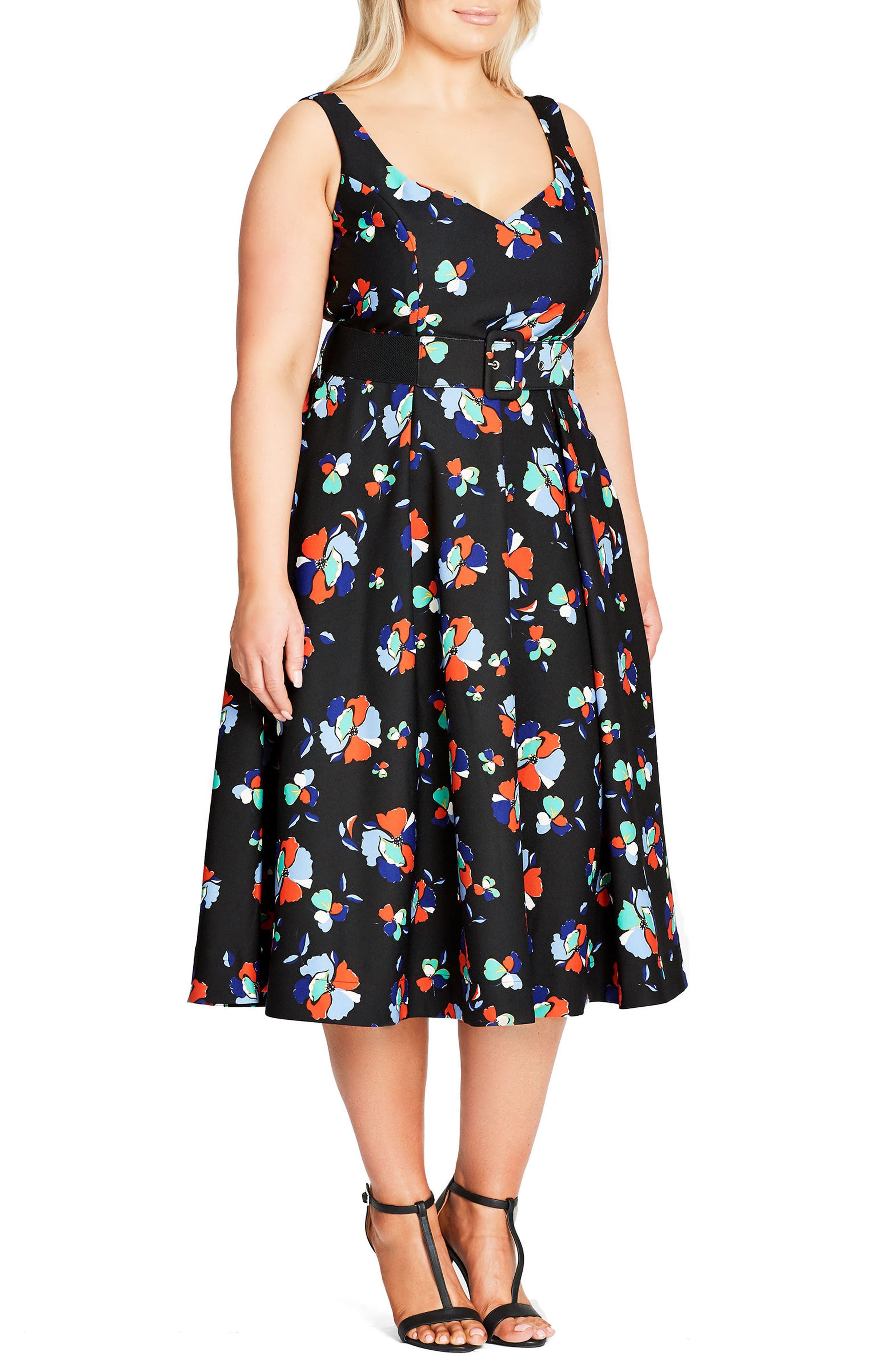 Sweet Belted Tea Length Dress,                             Alternate thumbnail 3, color,                             408