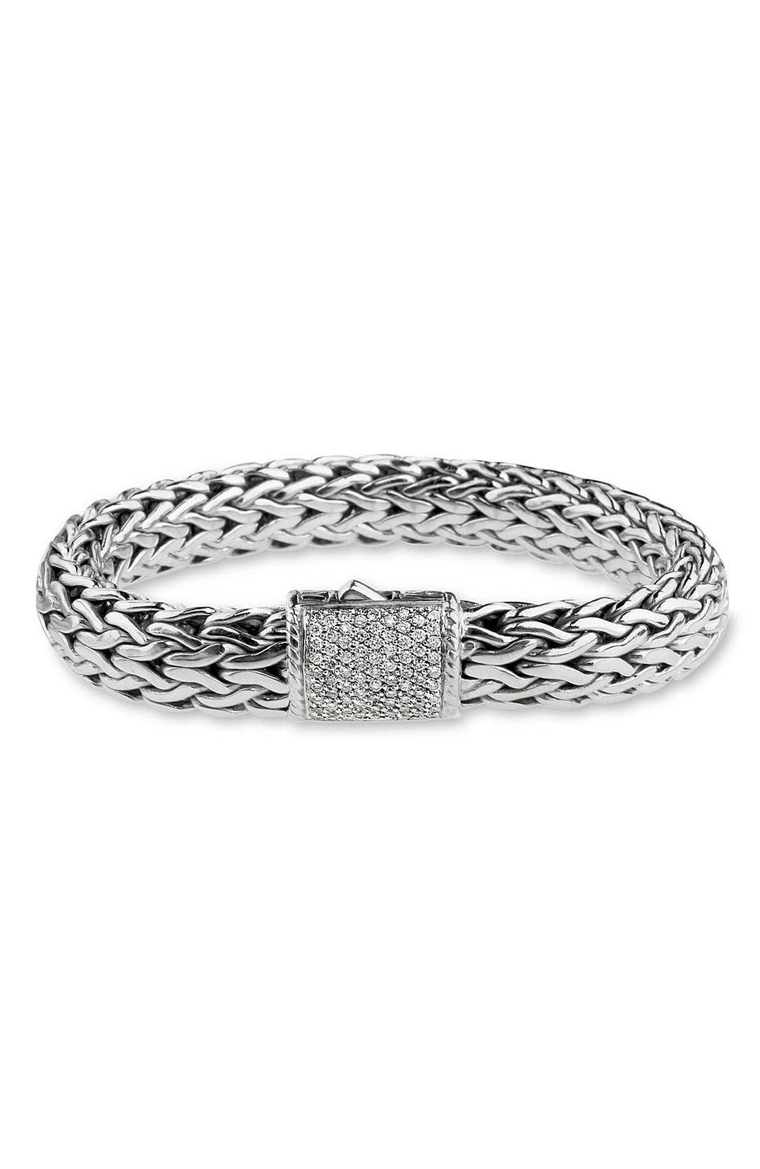 'Classic Chain' Large Pavé Diamond Bracelet,                             Main thumbnail 1, color,                             DIAMOND