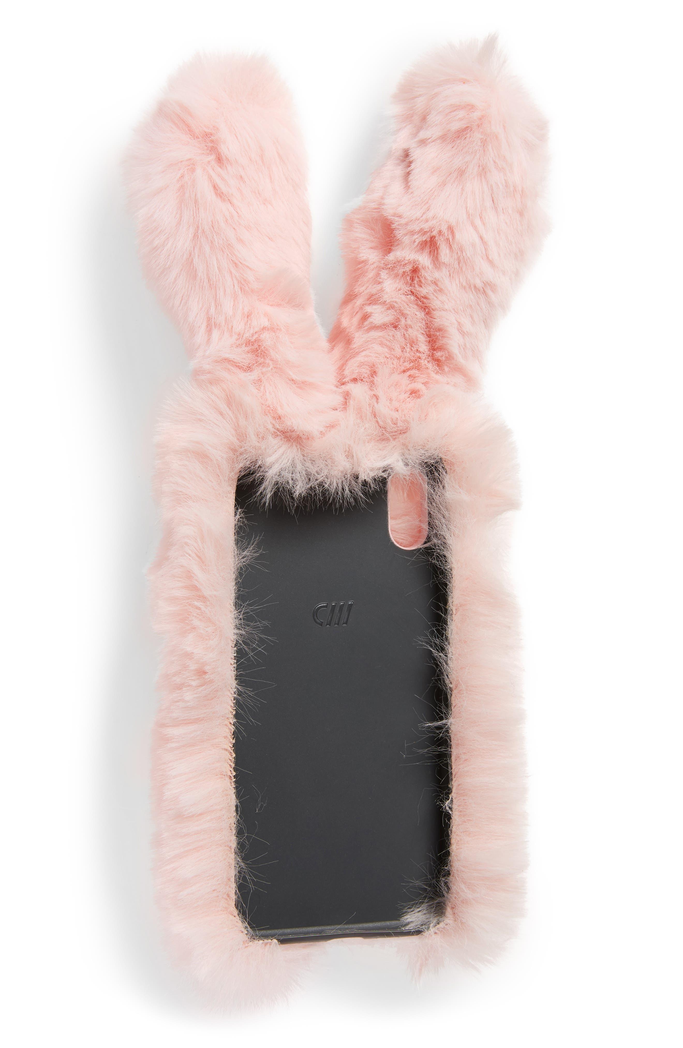 Bunny Faux Fur iPhone X Case,                             Alternate thumbnail 2, color,                             650