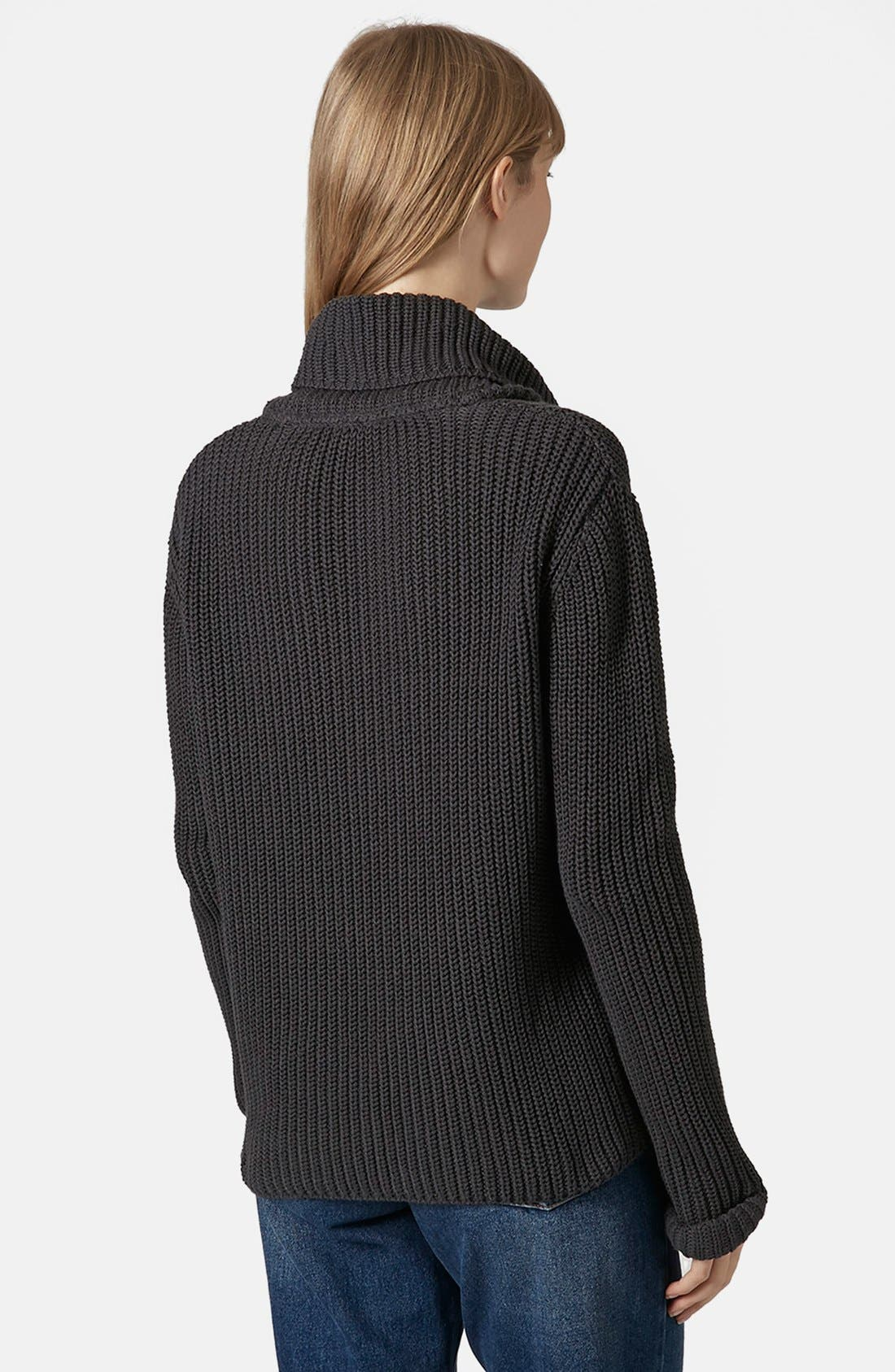 TOPSHOP BOUTIQUE,                             Roll Neck Fisherman Sweater,                             Alternate thumbnail 3, color,                             021