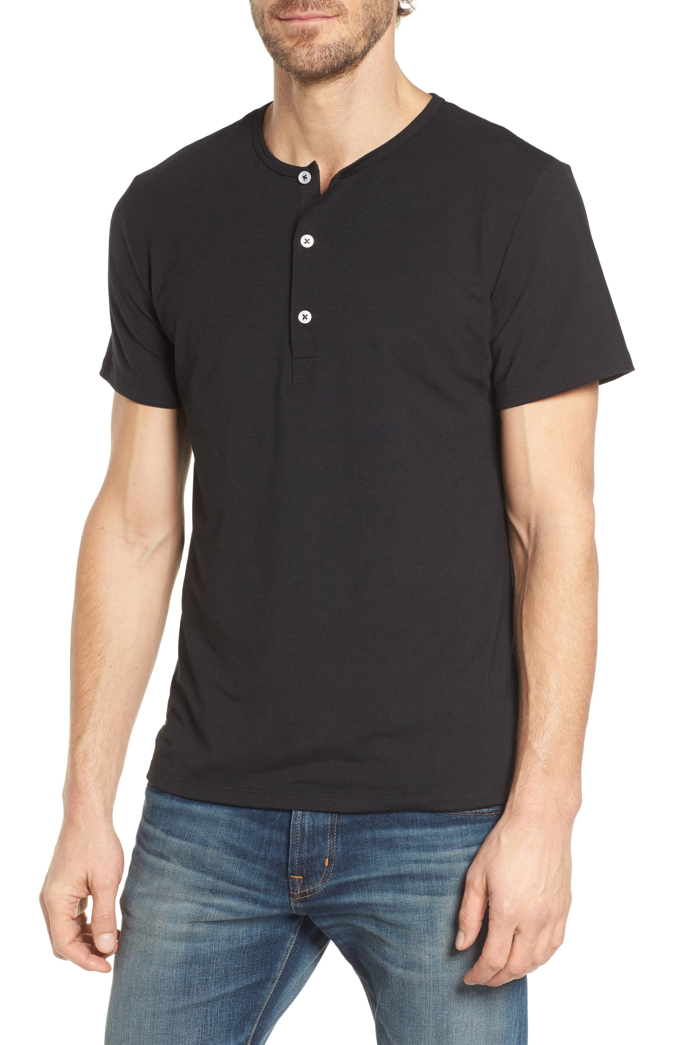 Slim Fit Short Sleeve Performance Henley T-Shirt,                         Main,                         color, TOHONO BLACK