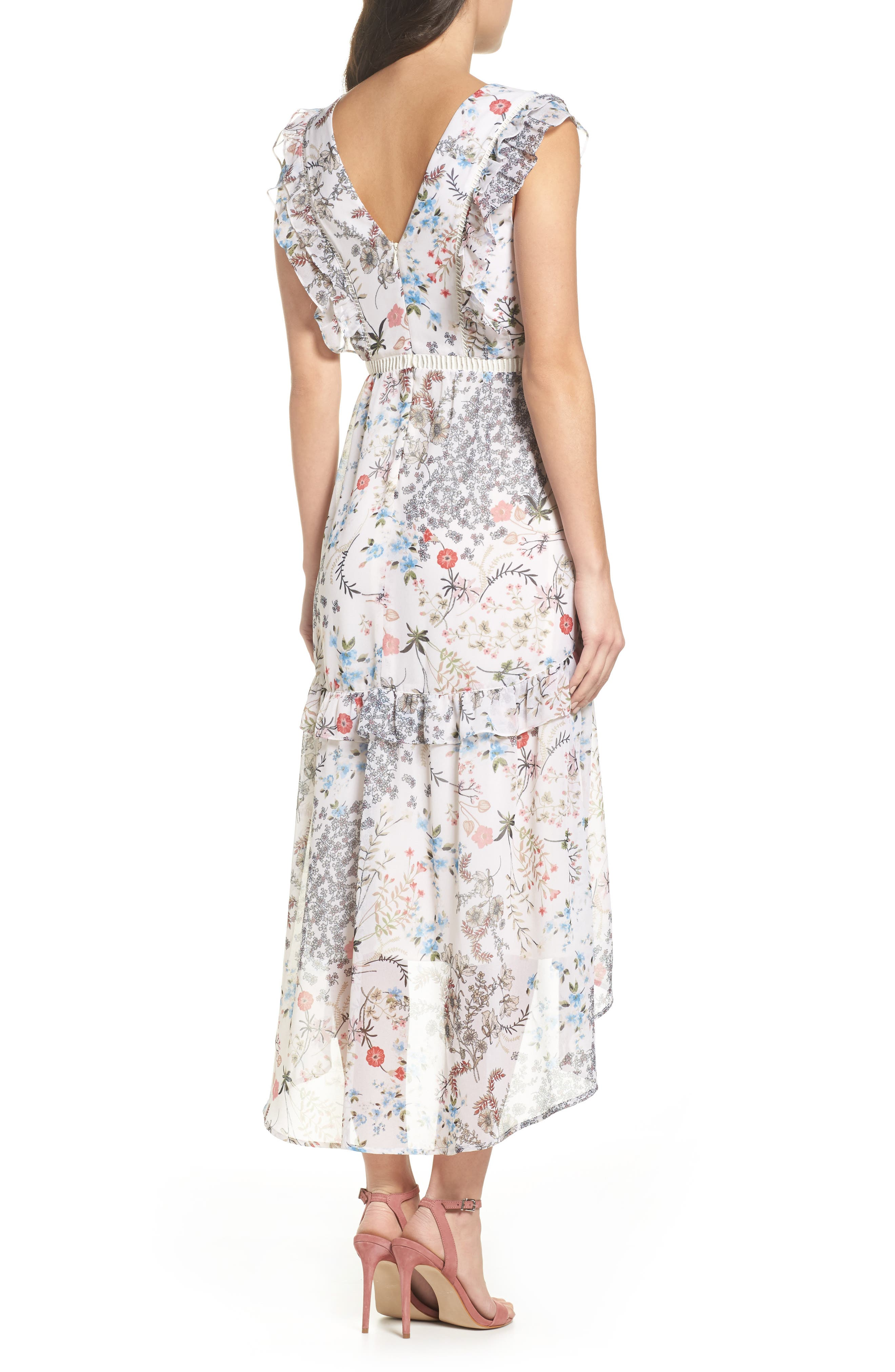 Print High/Low Midi Dress,                             Alternate thumbnail 2, color,                             900