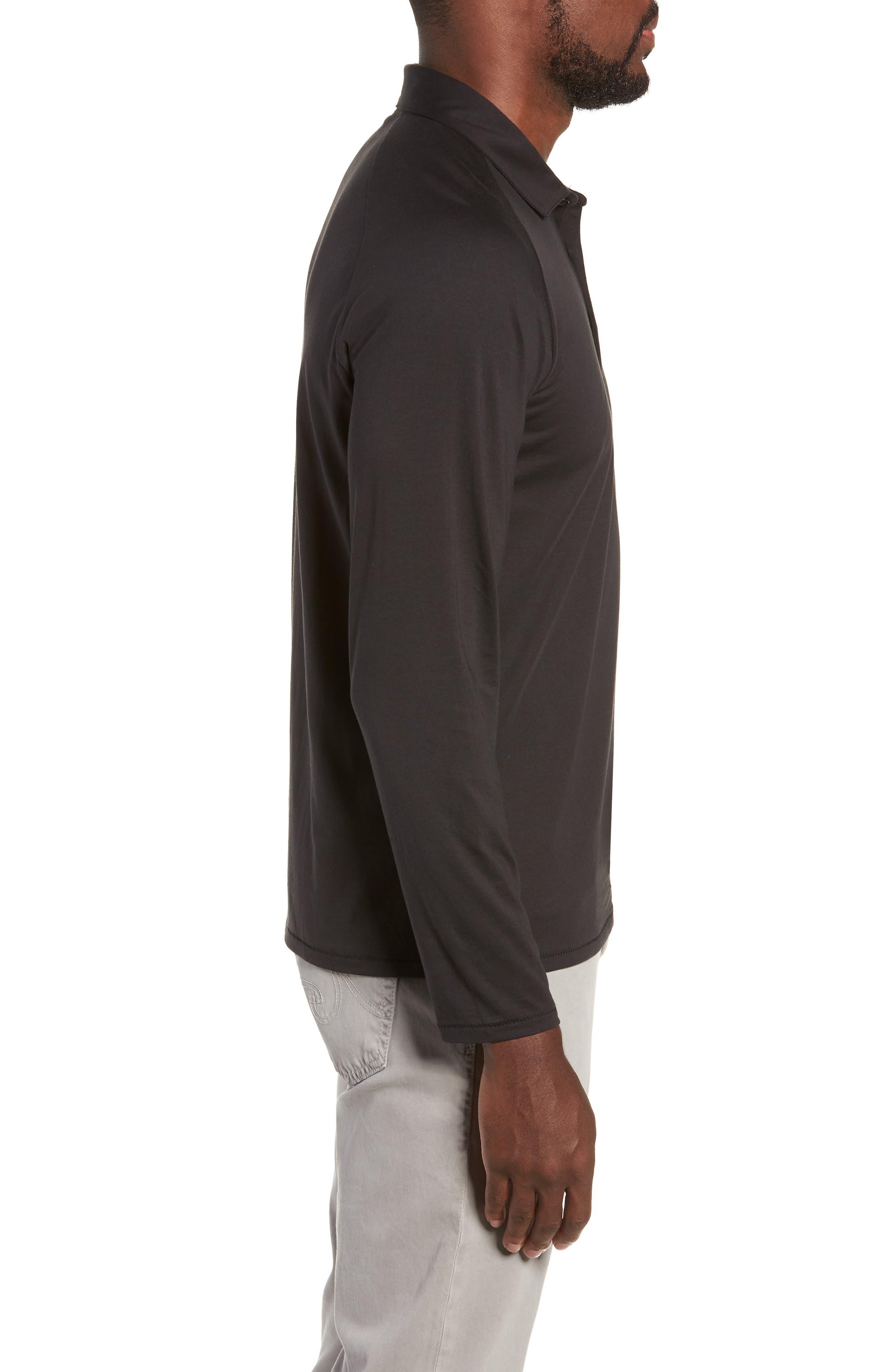 Superfine Slim Fit Long Sleeve Polo,                             Alternate thumbnail 3, color,                             CAVIAR BLACK