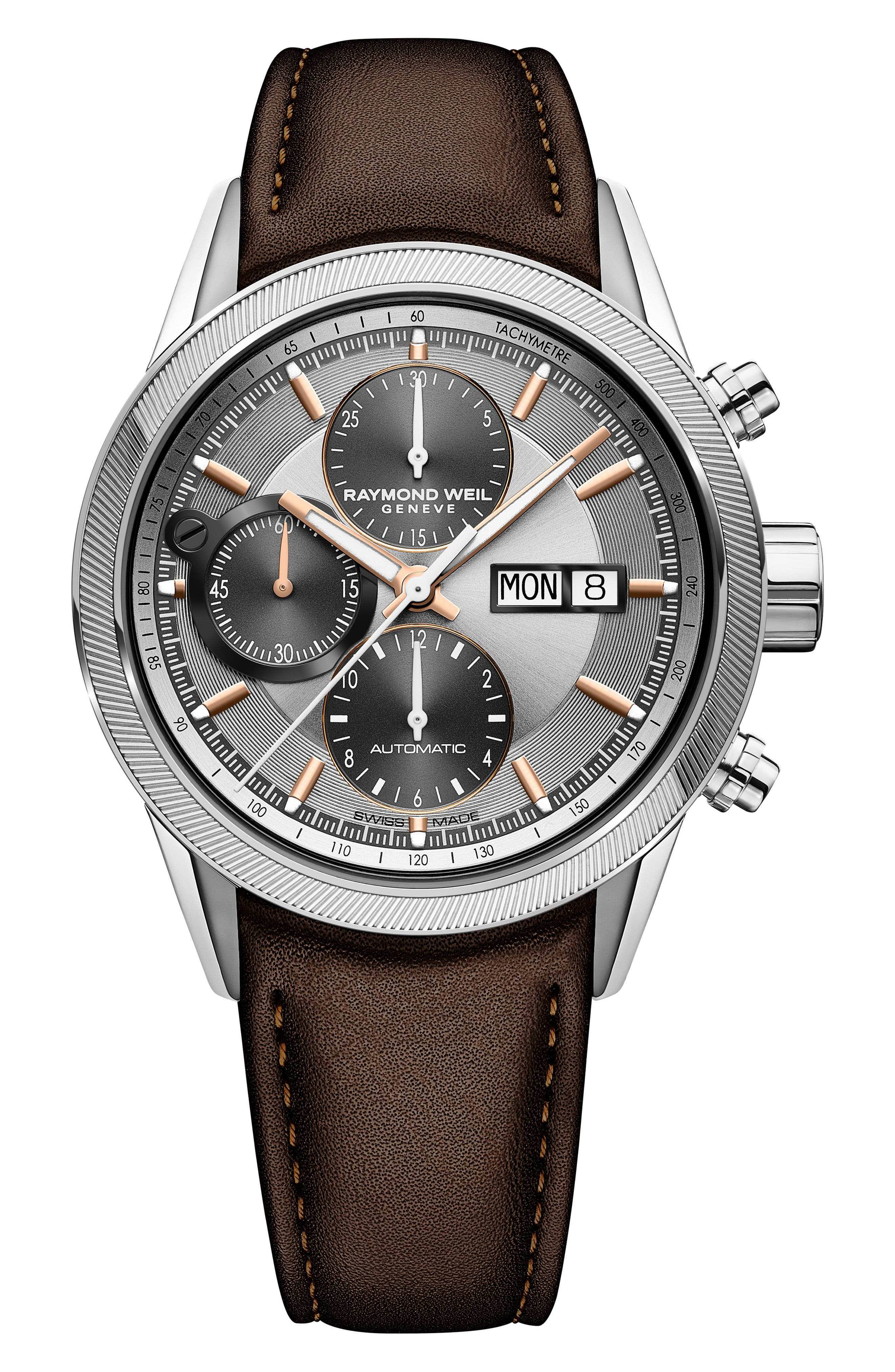 Freelancer Chronograph Automatic Leather Strap Watch, 42mm,                         Main,                         color, BROWN/ SILVER