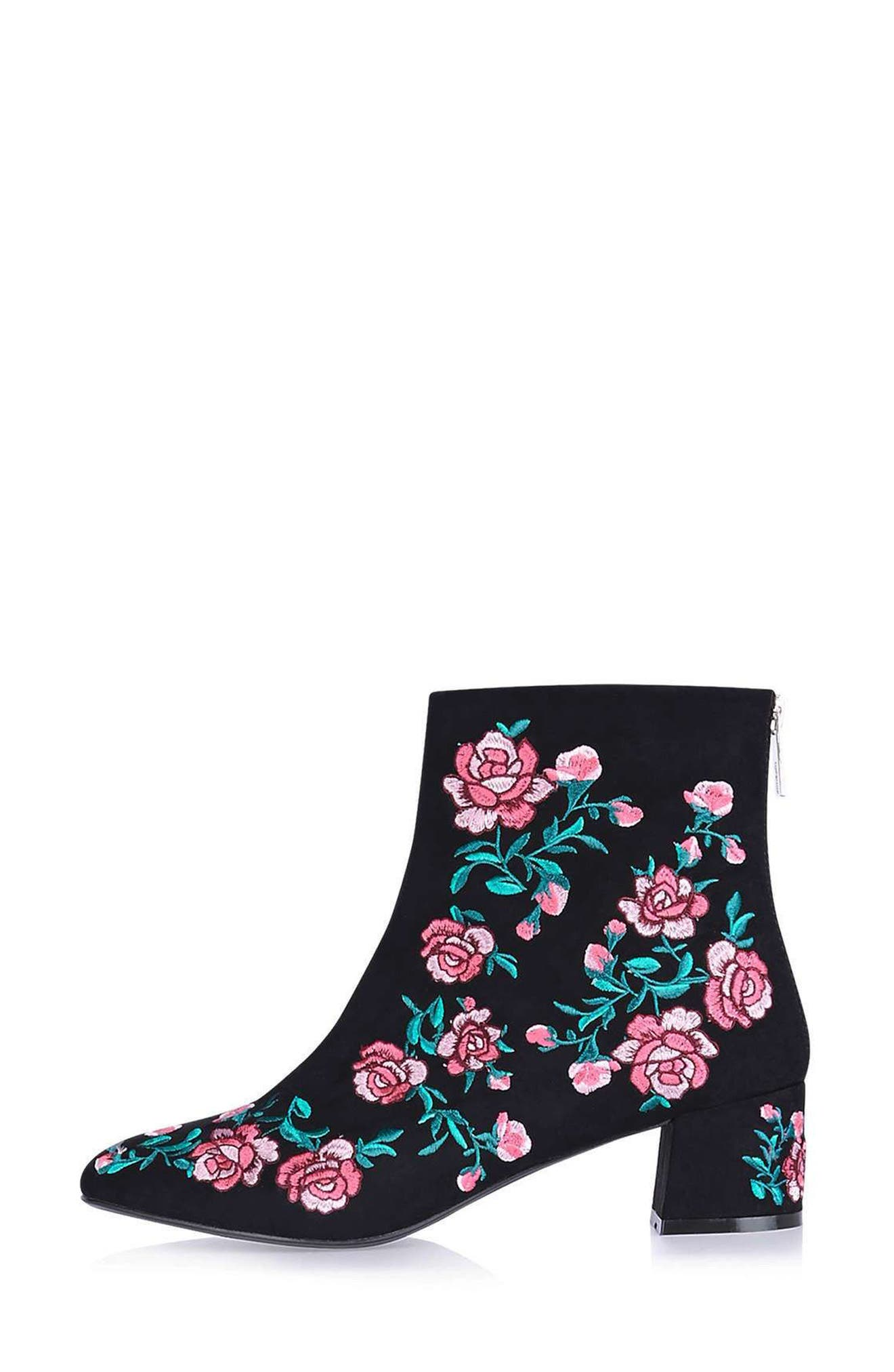 Blossom Embroidered Bootie,                             Alternate thumbnail 3, color,                             650