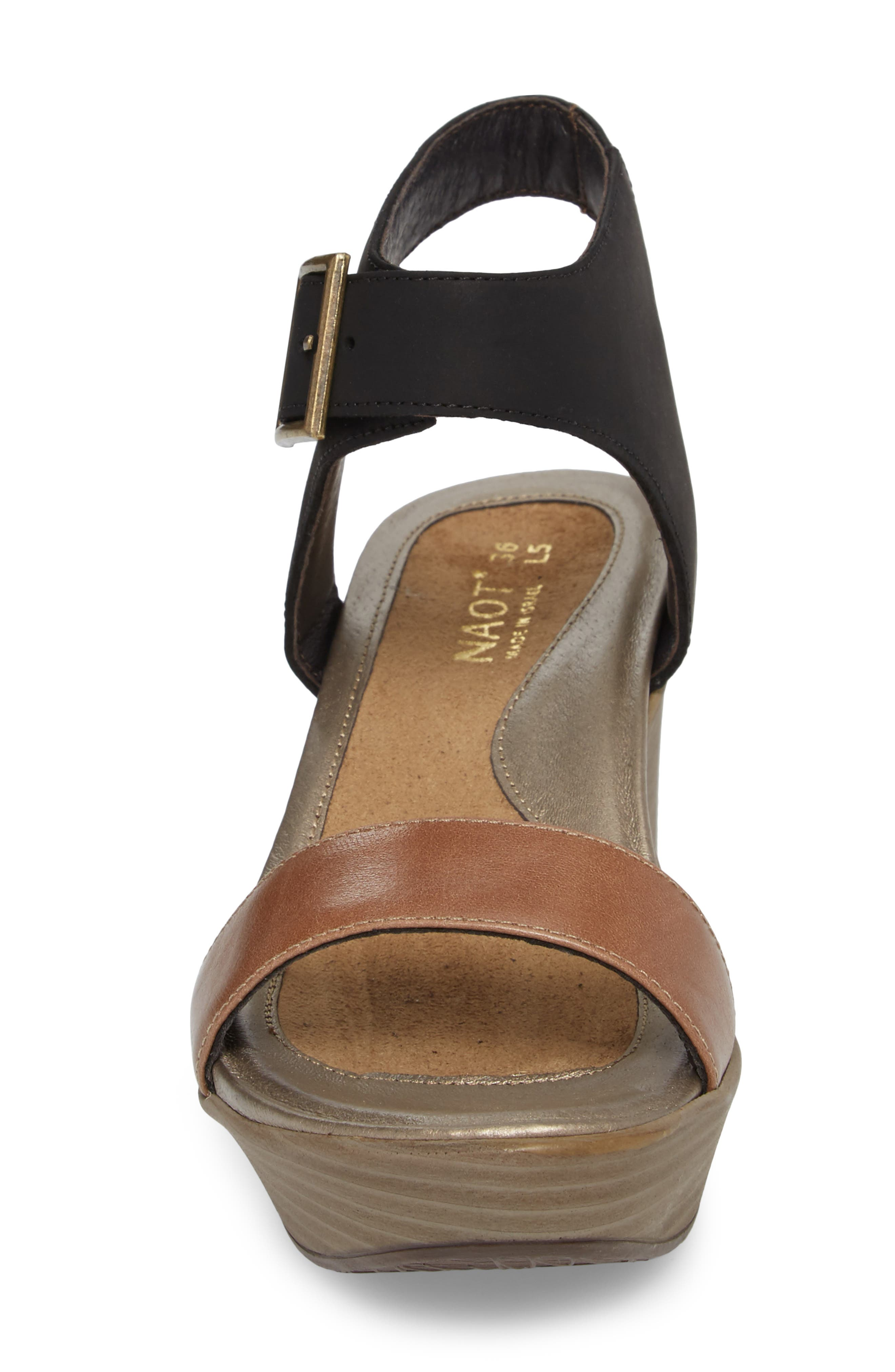 Caprice Wedge Sandal,                             Alternate thumbnail 4, color,                             TAN LEATHER