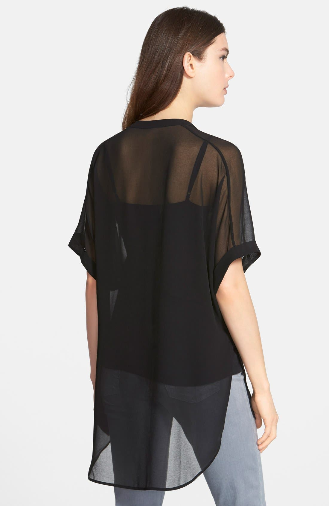 Short Sleeve Sheer Tunic Top,                             Alternate thumbnail 3, color,                             001