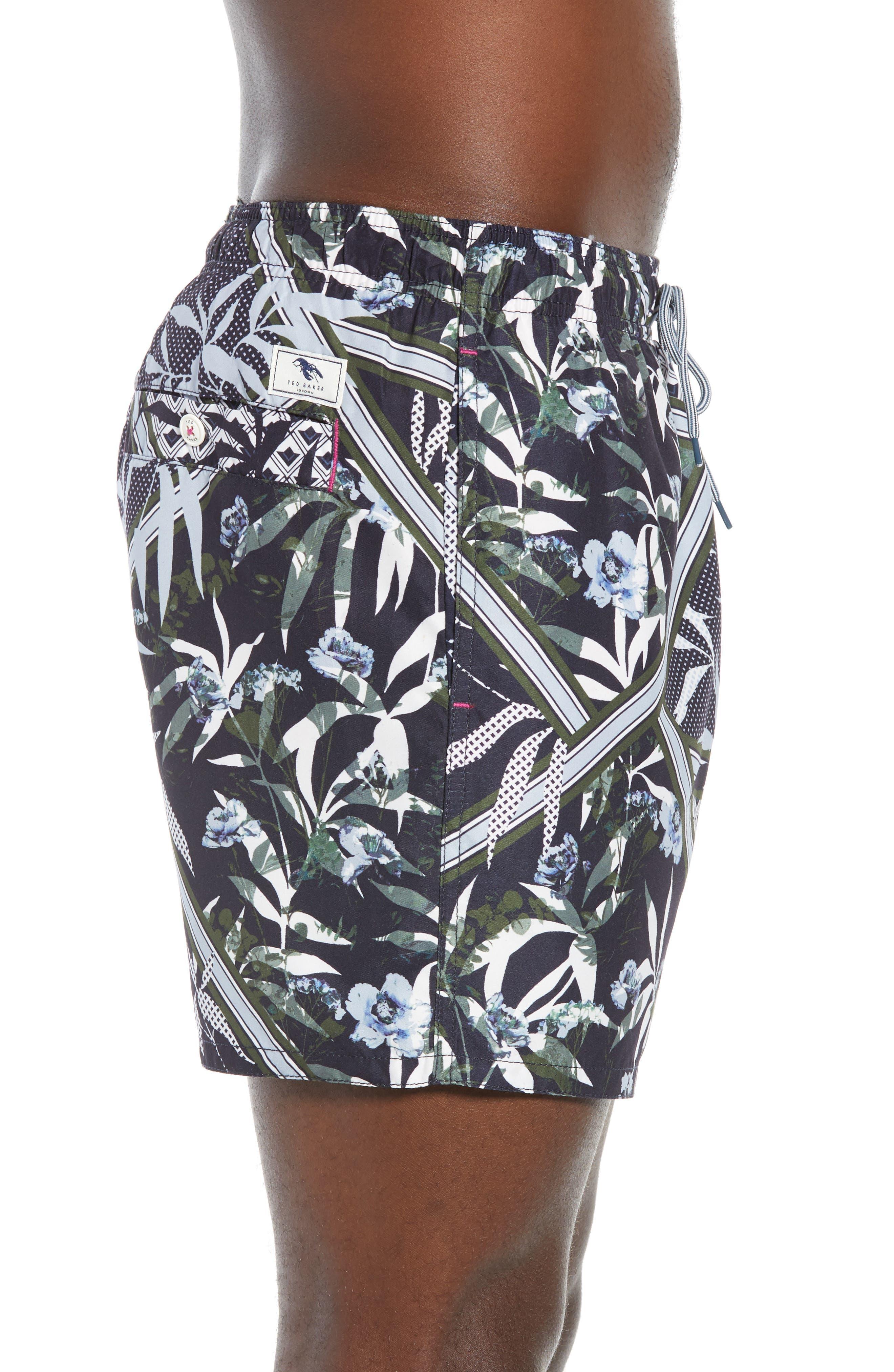 TED BAKER LONDON,                             Plecoe Slim Fit Floral Print Swim Trunks,                             Alternate thumbnail 3, color,                             410