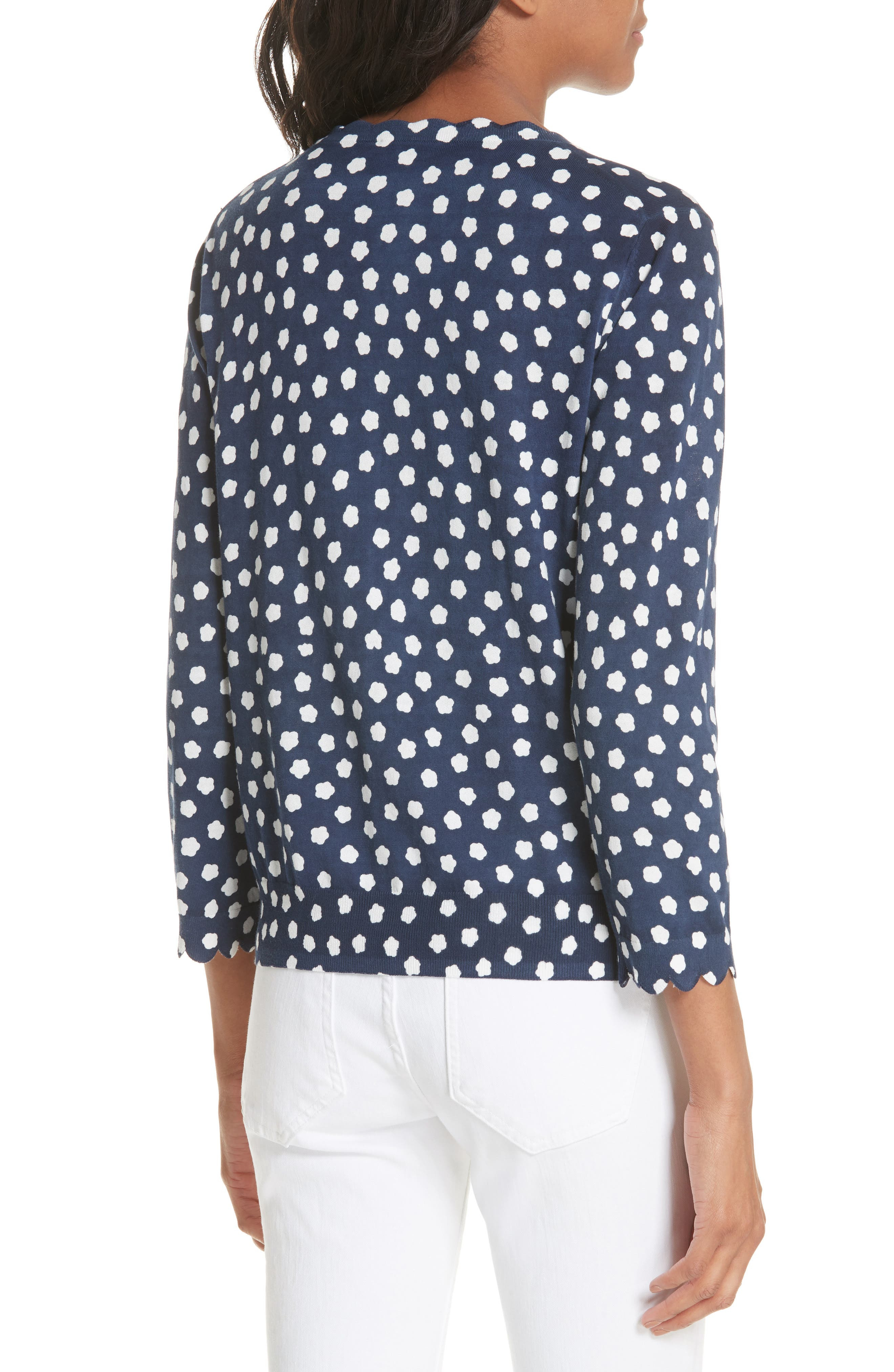 cloud dot scallop cotton cardigan,                             Alternate thumbnail 2, color,                             FRENCH NAVY/ FRESH WHITE