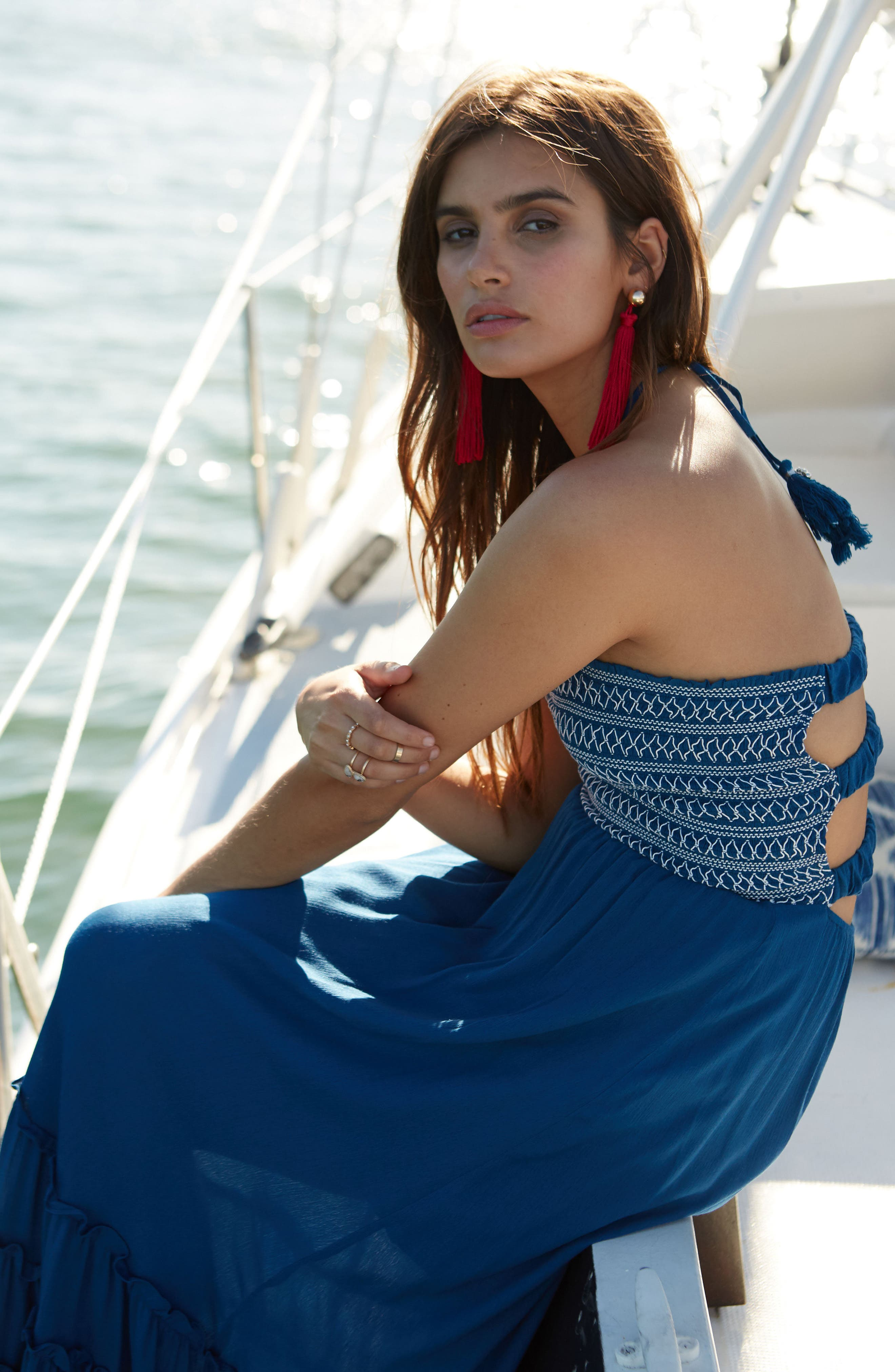 Sailor Smocked Maxi Dress,                             Alternate thumbnail 7, color,                             410