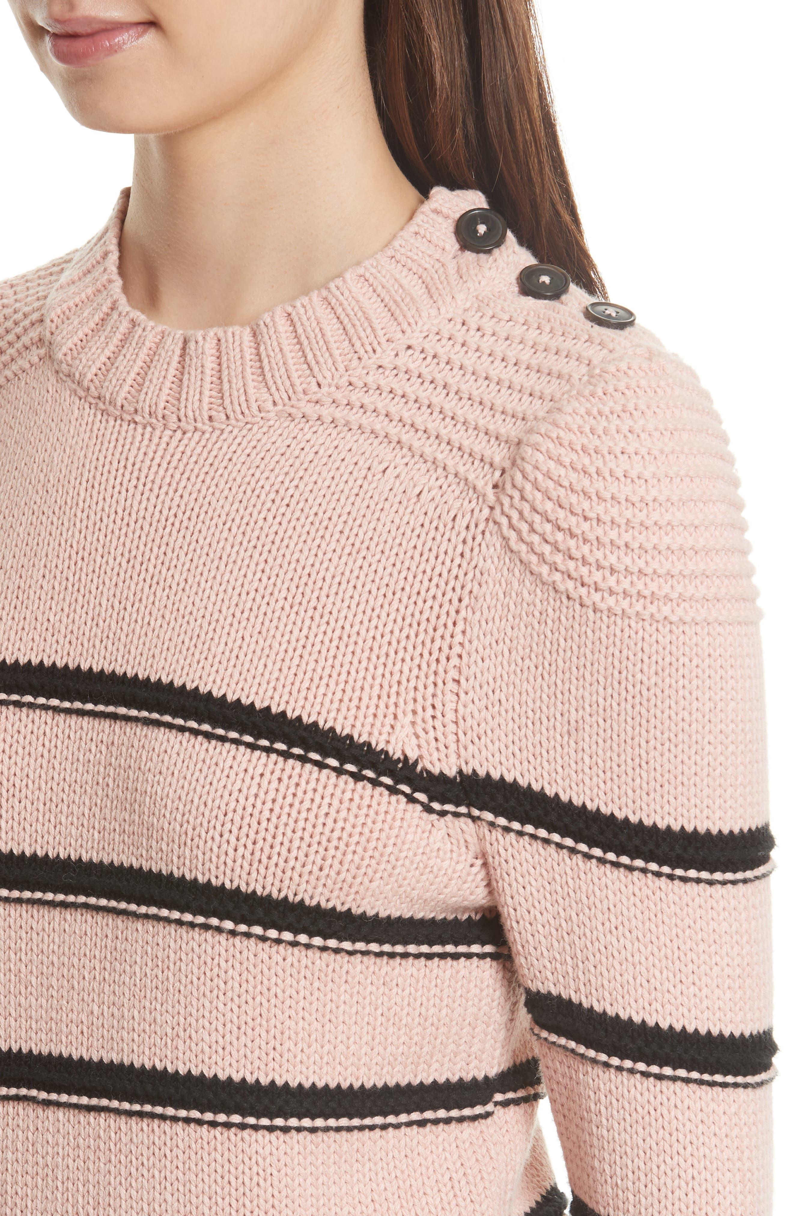 Stripe Cotton & Merino Wool Sweater,                             Alternate thumbnail 4, color,                             695