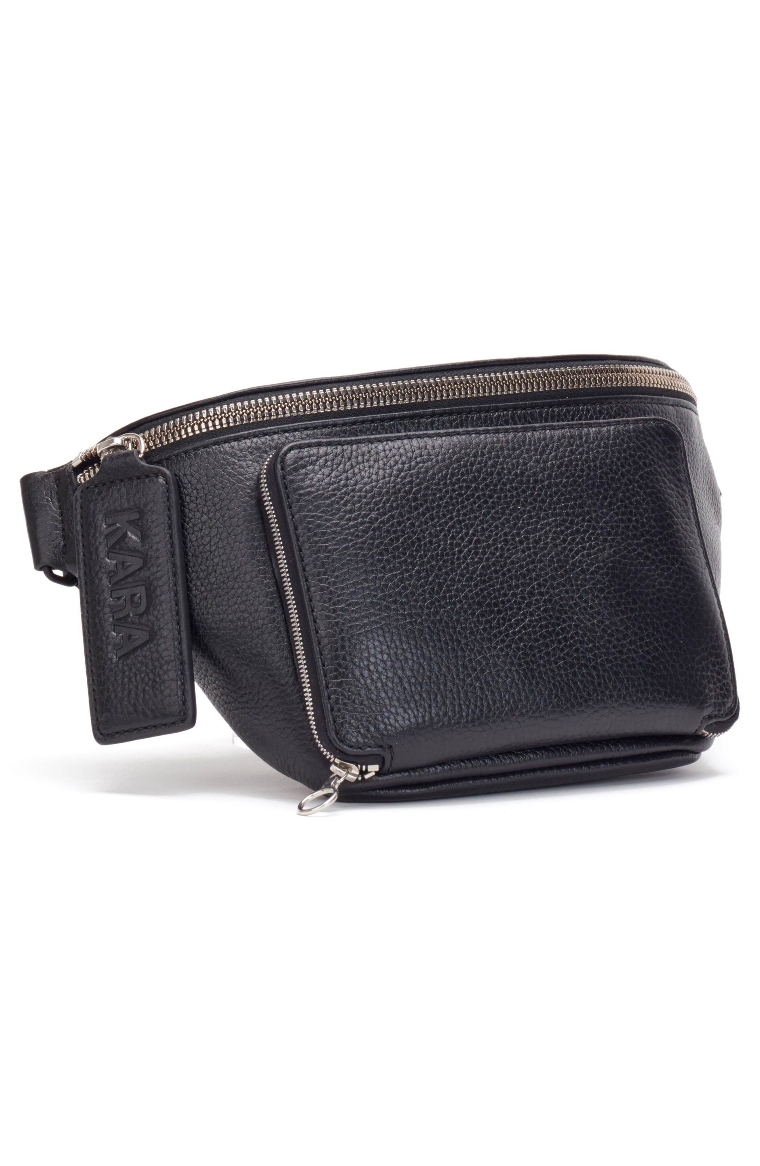 Large Leather Bum Bag,                             Alternate thumbnail 3, color,                             BLACK