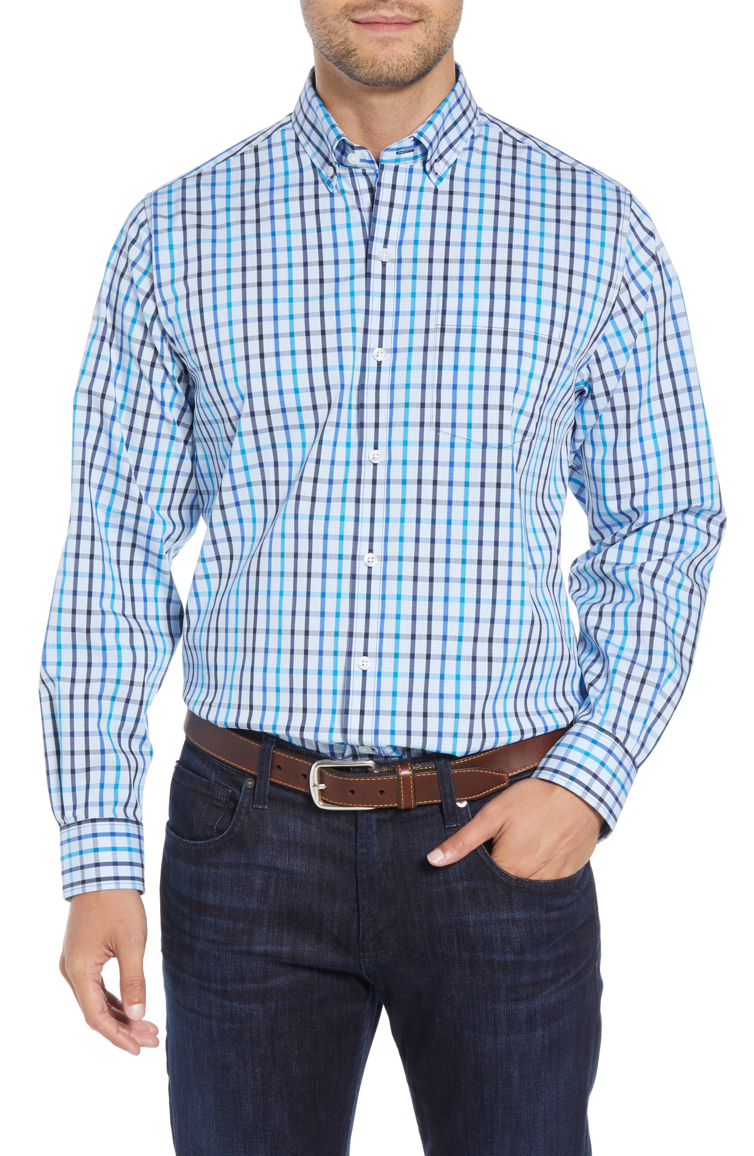 Clarence Regular Fit Plaid Sport Shirt,                             Main thumbnail 1, color,                             LIBERTY NAVY