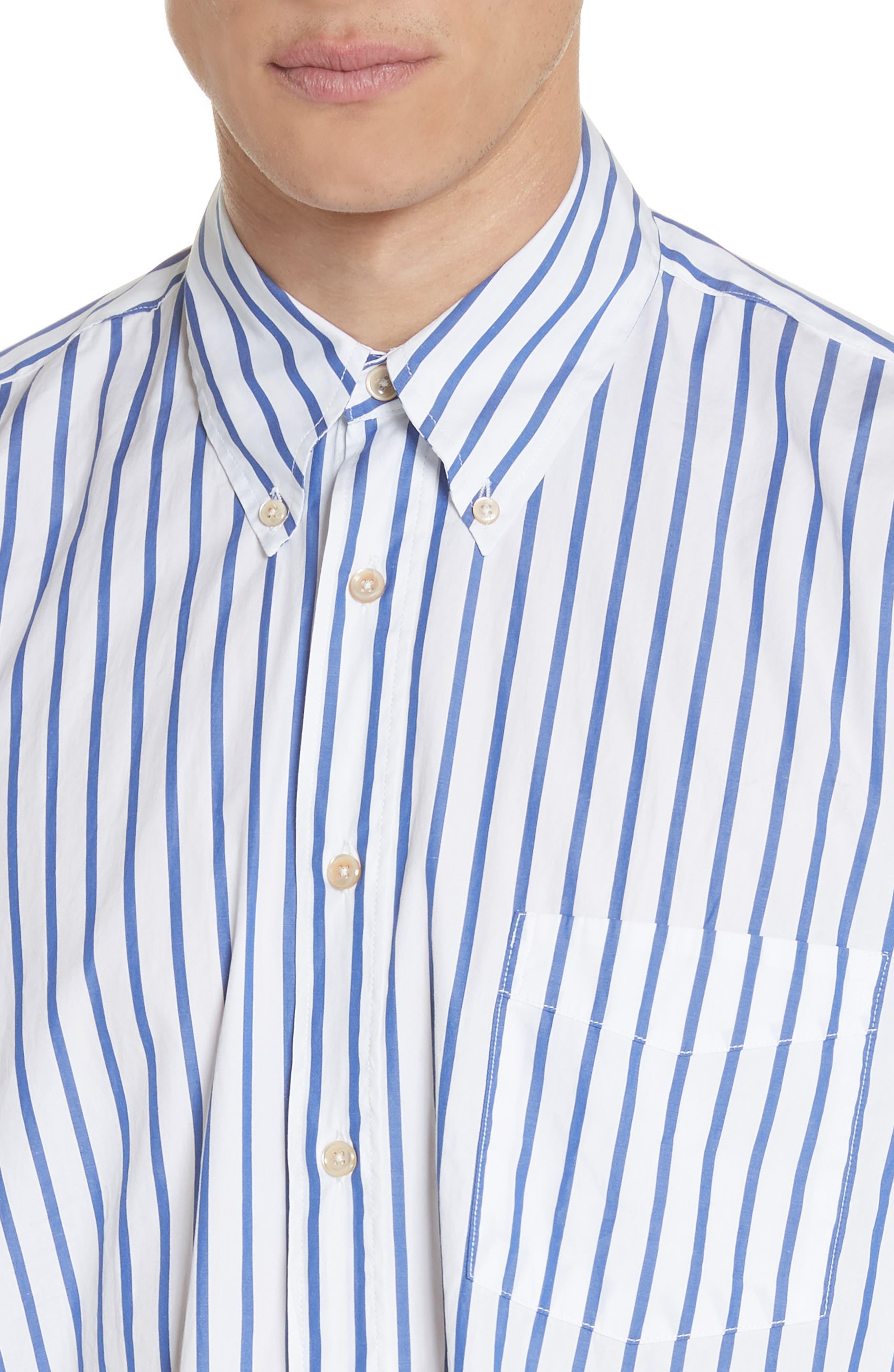 Oversize Stripe Woven Shirt,                             Alternate thumbnail 4, color,                             400