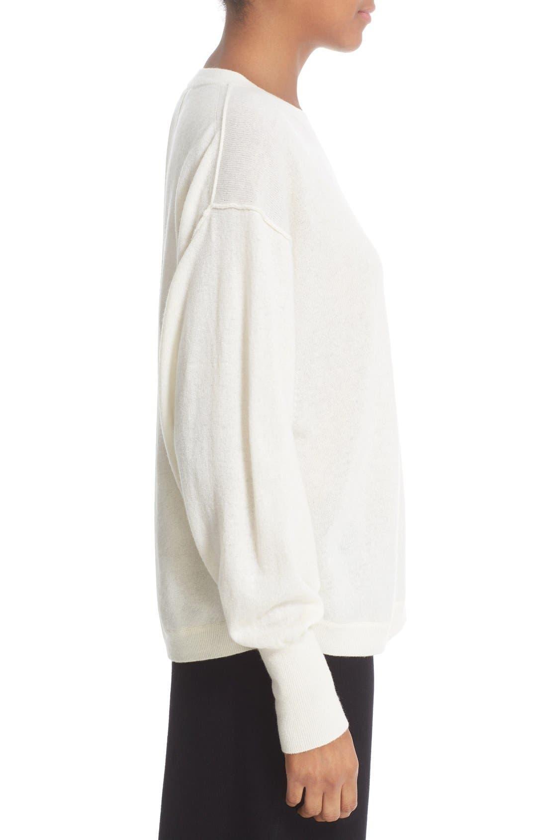 Shirttail Cashmere Sweater,                             Alternate thumbnail 3, color,                             101