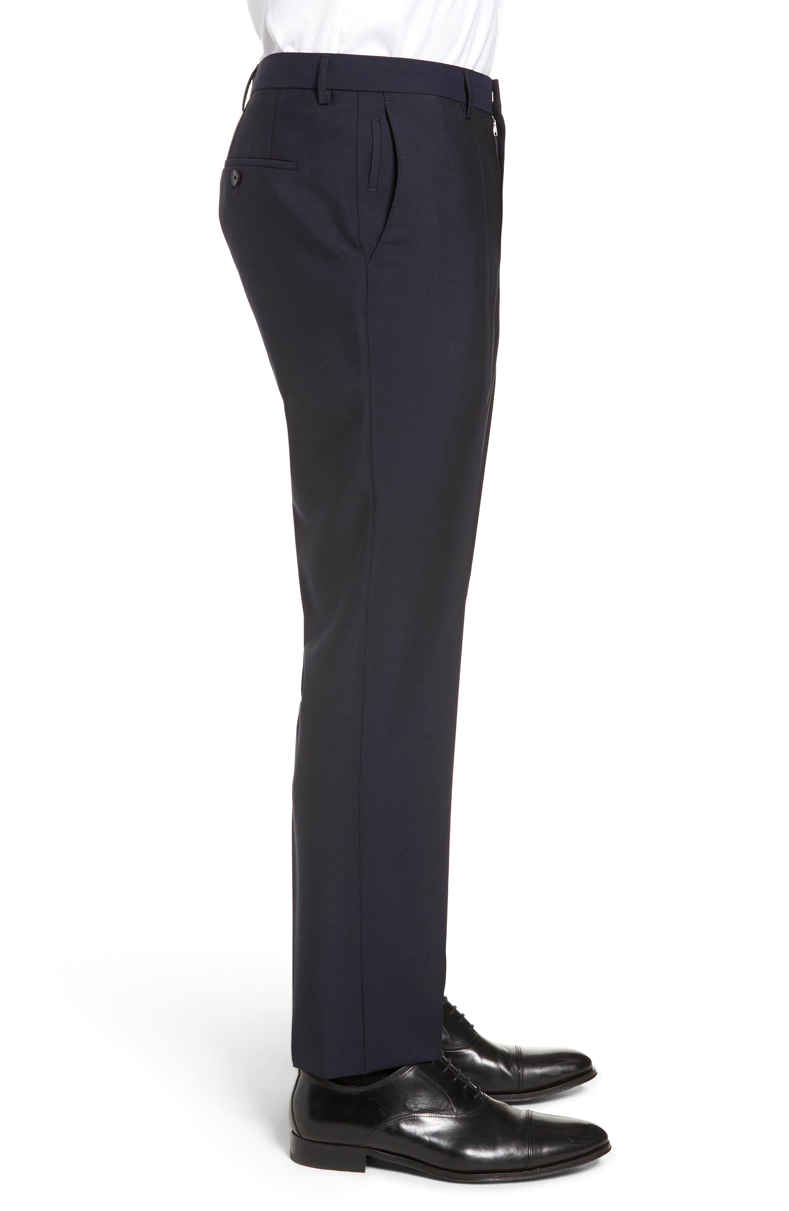 x Nordstrom Ben Flat Front Solid Wool & Mohair Trousers,                             Alternate thumbnail 3, color,                             DARK BLUE