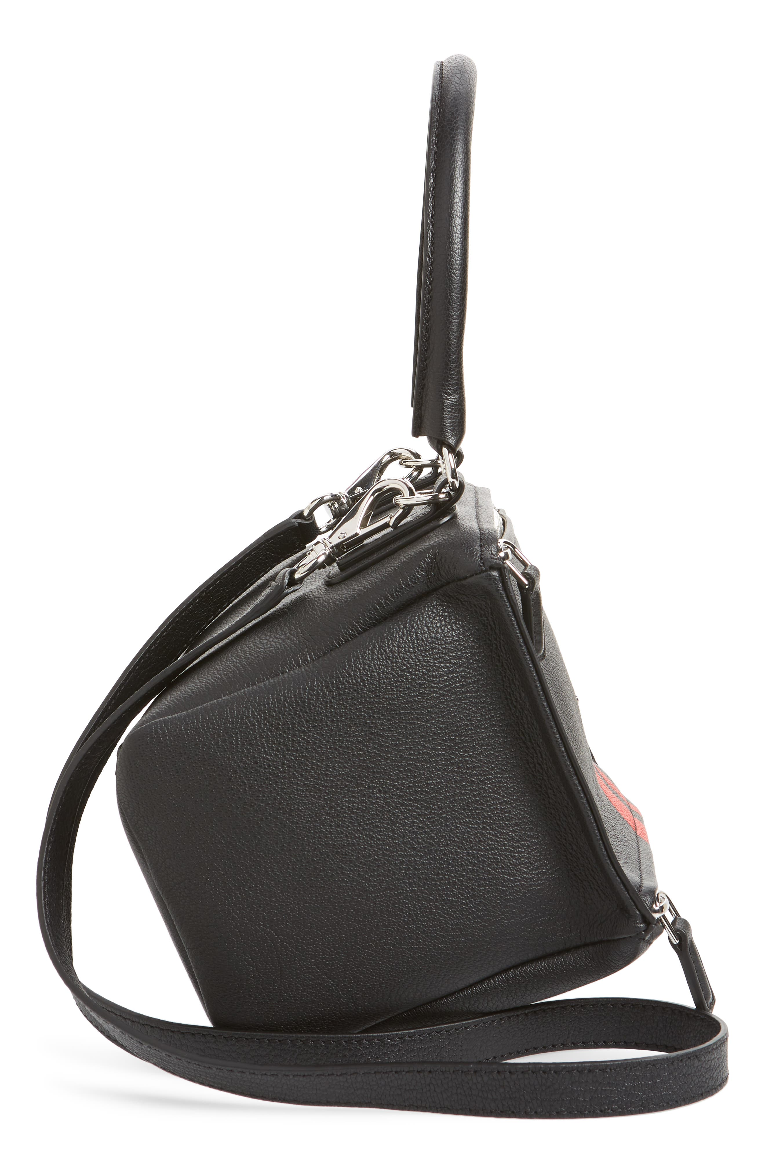 Small Pandora Stripe Leather Satchel,                             Alternate thumbnail 5, color,                             BLACK / RED