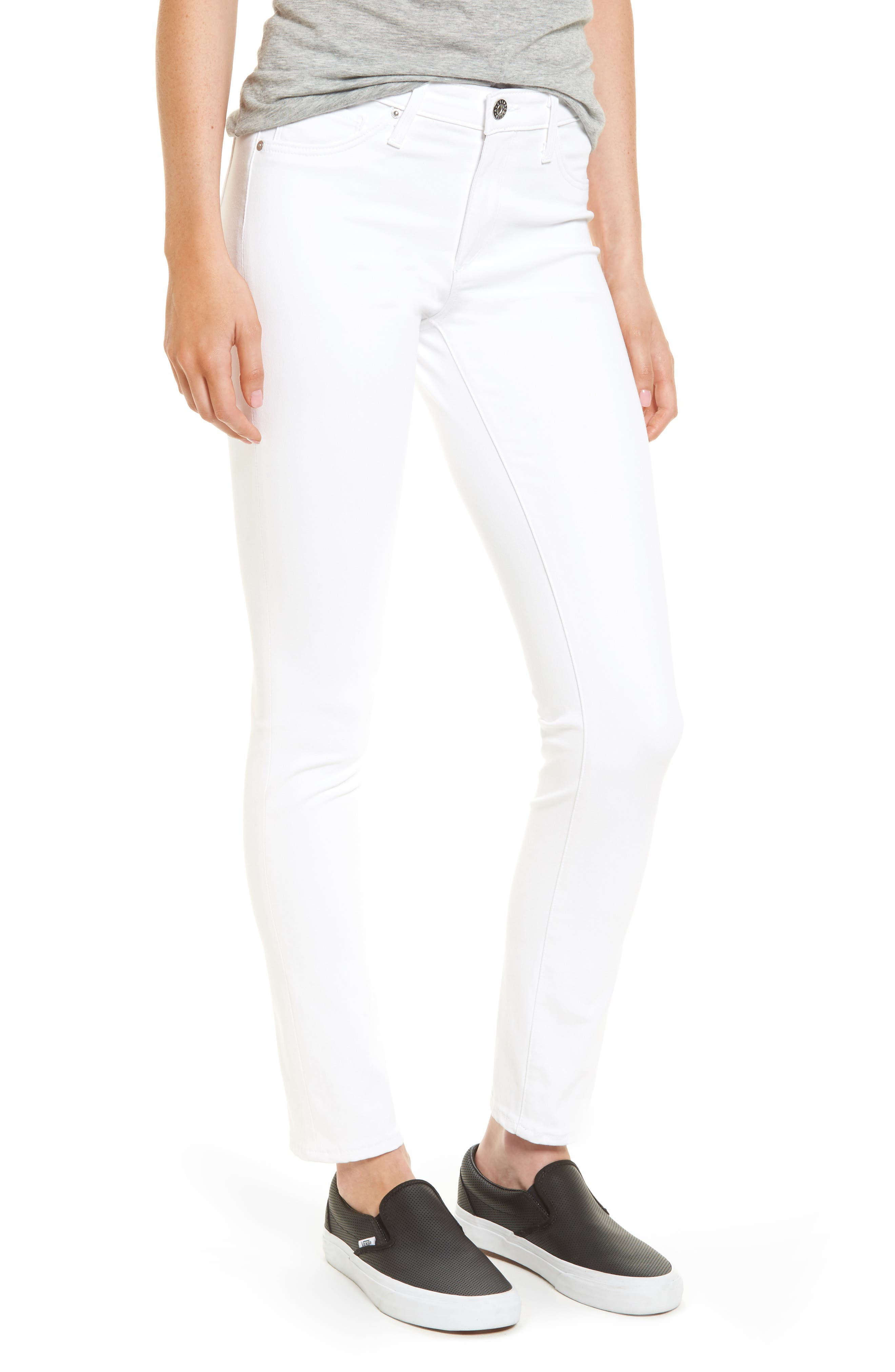 Prima Cigarette Leg Jeans,                             Main thumbnail 1, color,                             WHITE